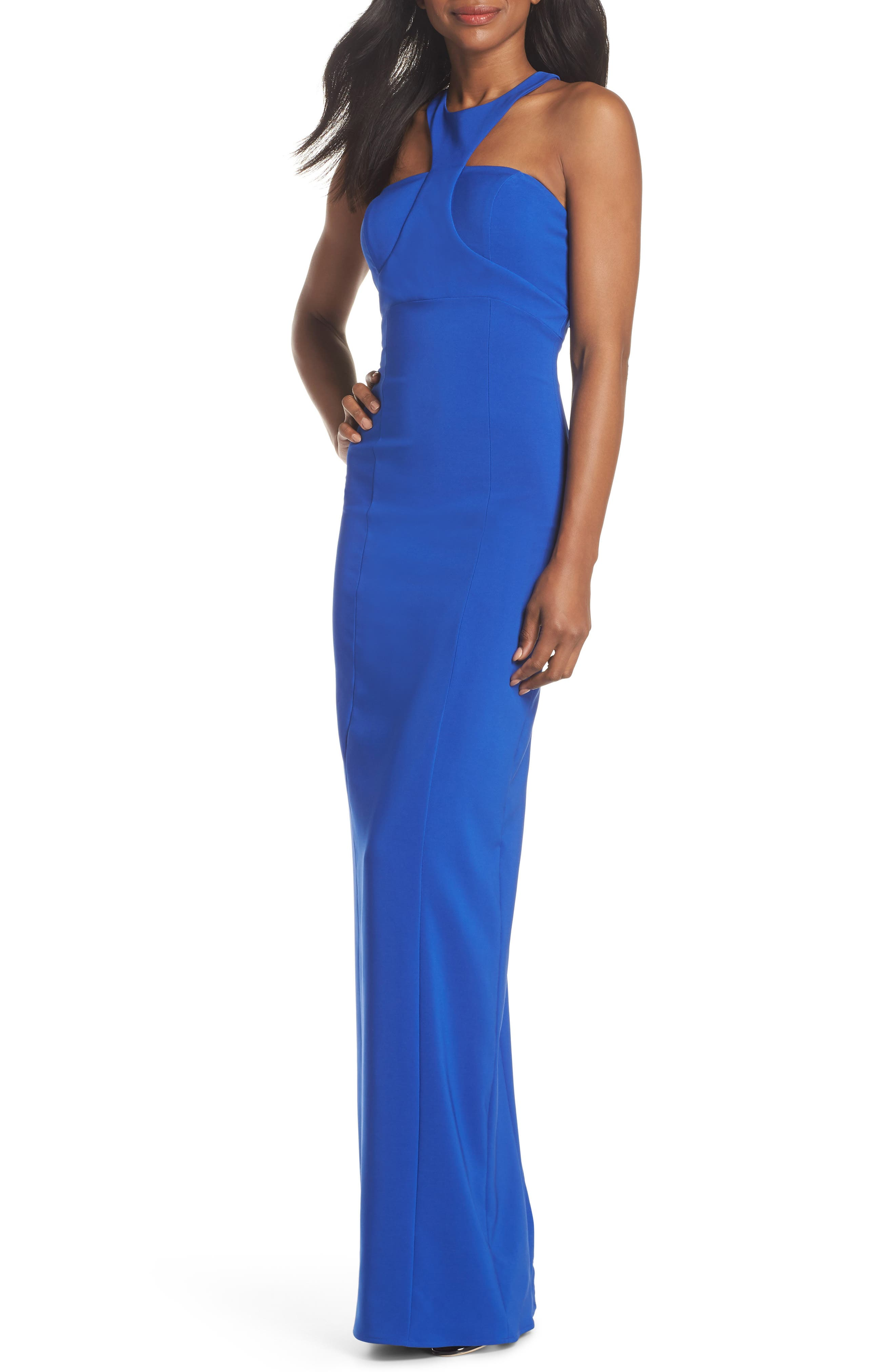 Ava Racer Column Gown,                         Main,                         color, Cobalt