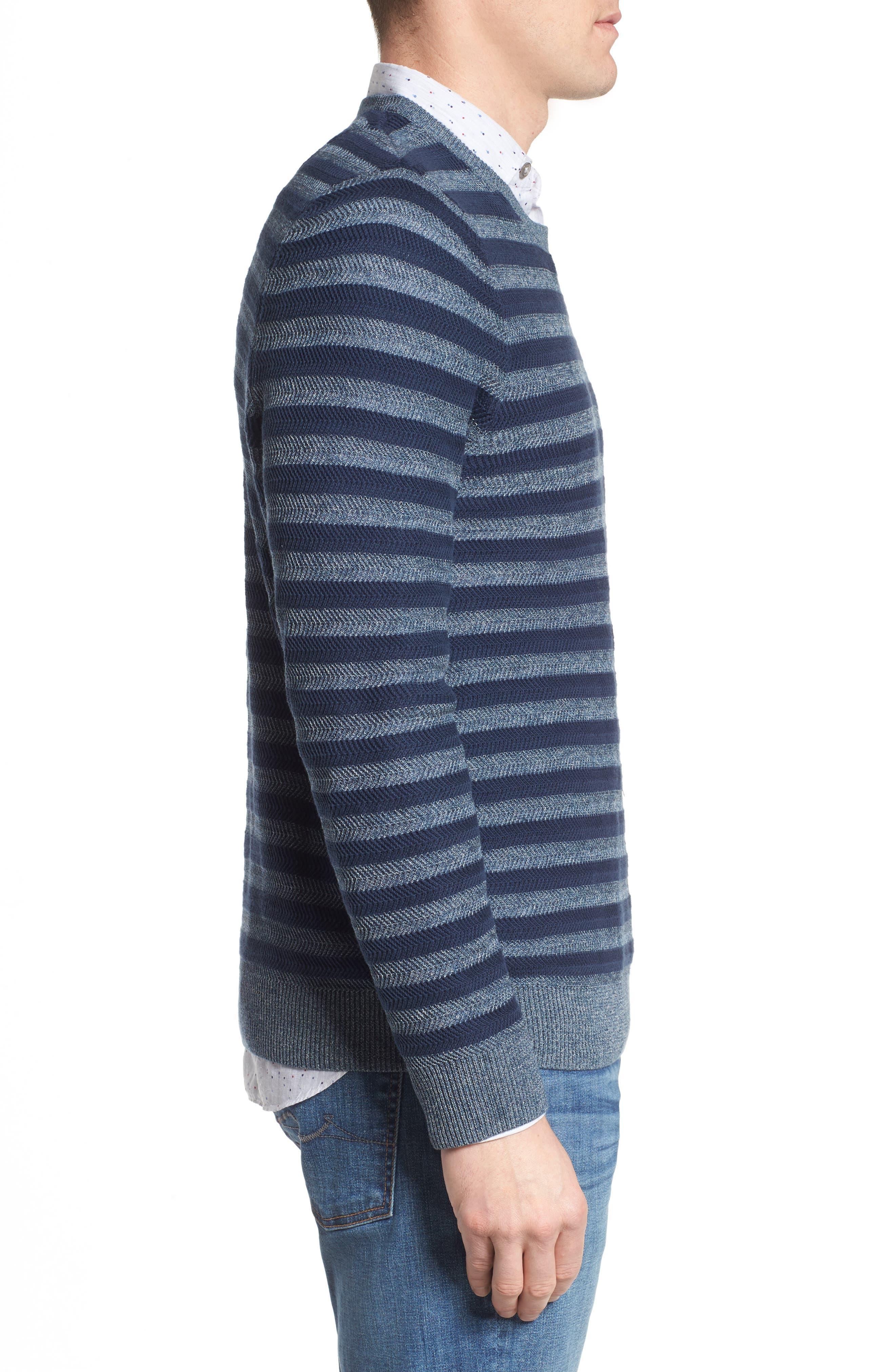 Stripe Cotton Blend Sweater,                             Alternate thumbnail 3, color,                             Navy Iris Stripe