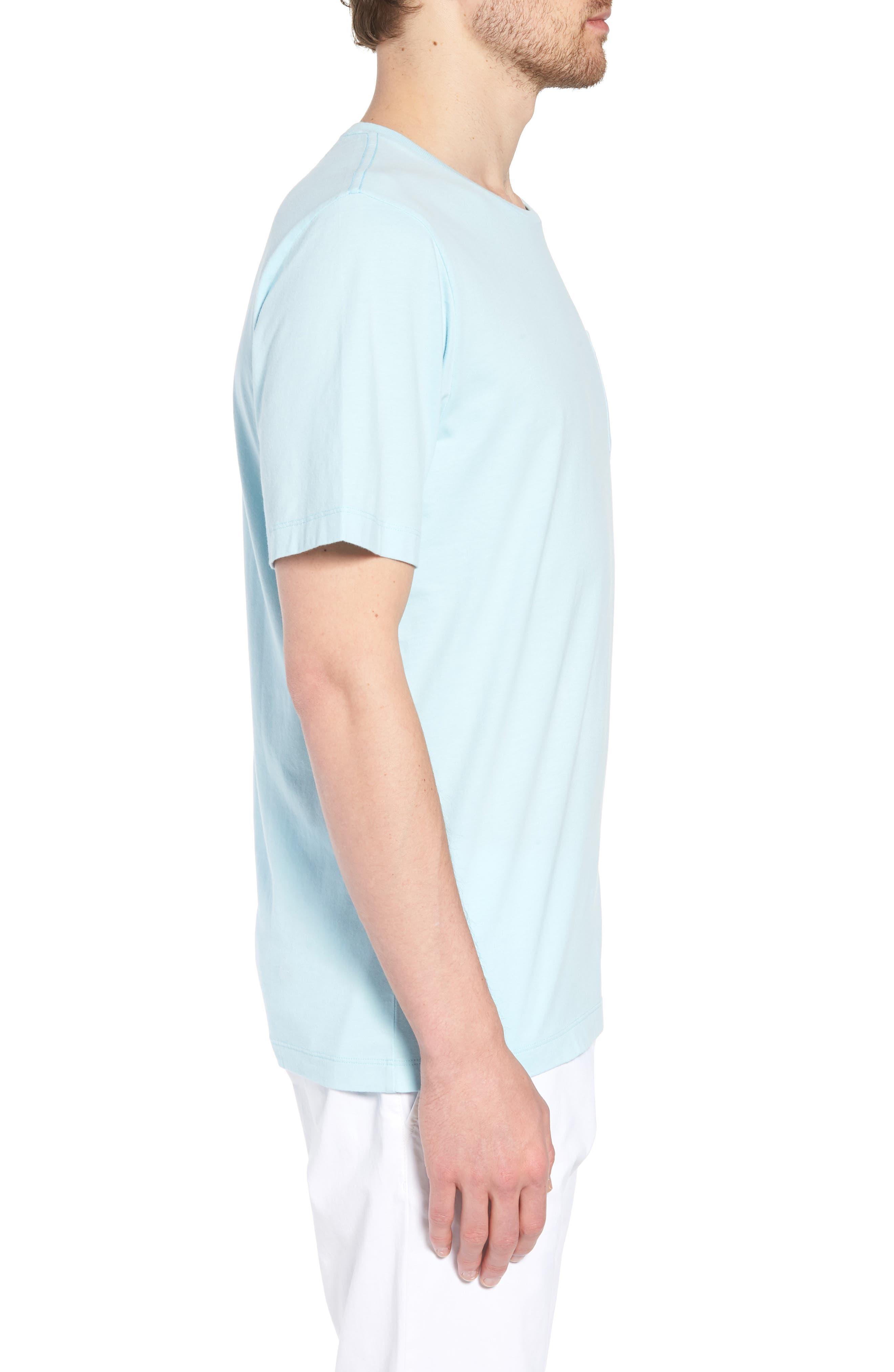 Brushed Pima Cotton T-Shirt,                             Alternate thumbnail 3, color,                             Blue Orydalis