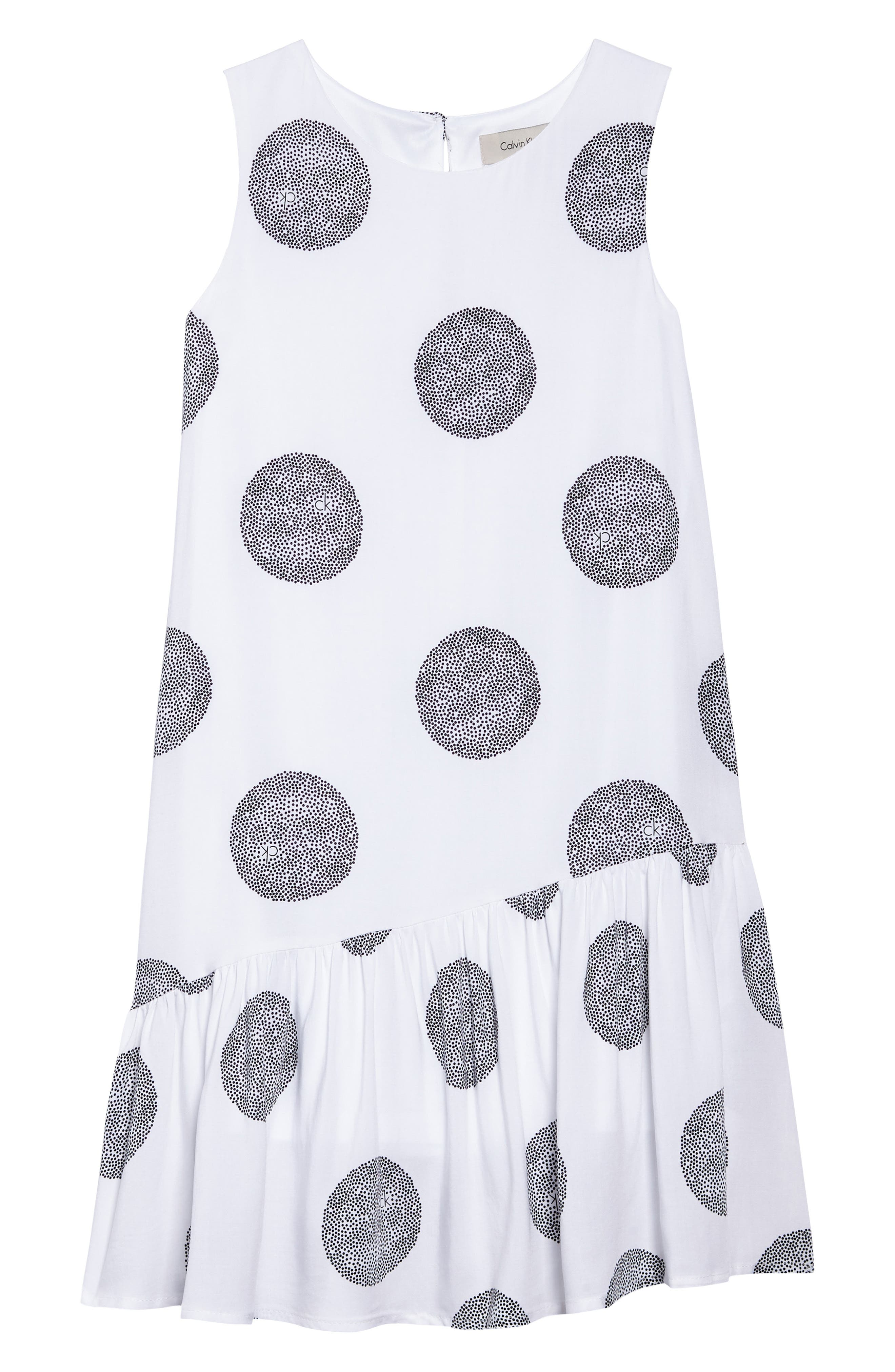 Asymmetrical Ruffle Dress,                             Main thumbnail 1, color,                             White