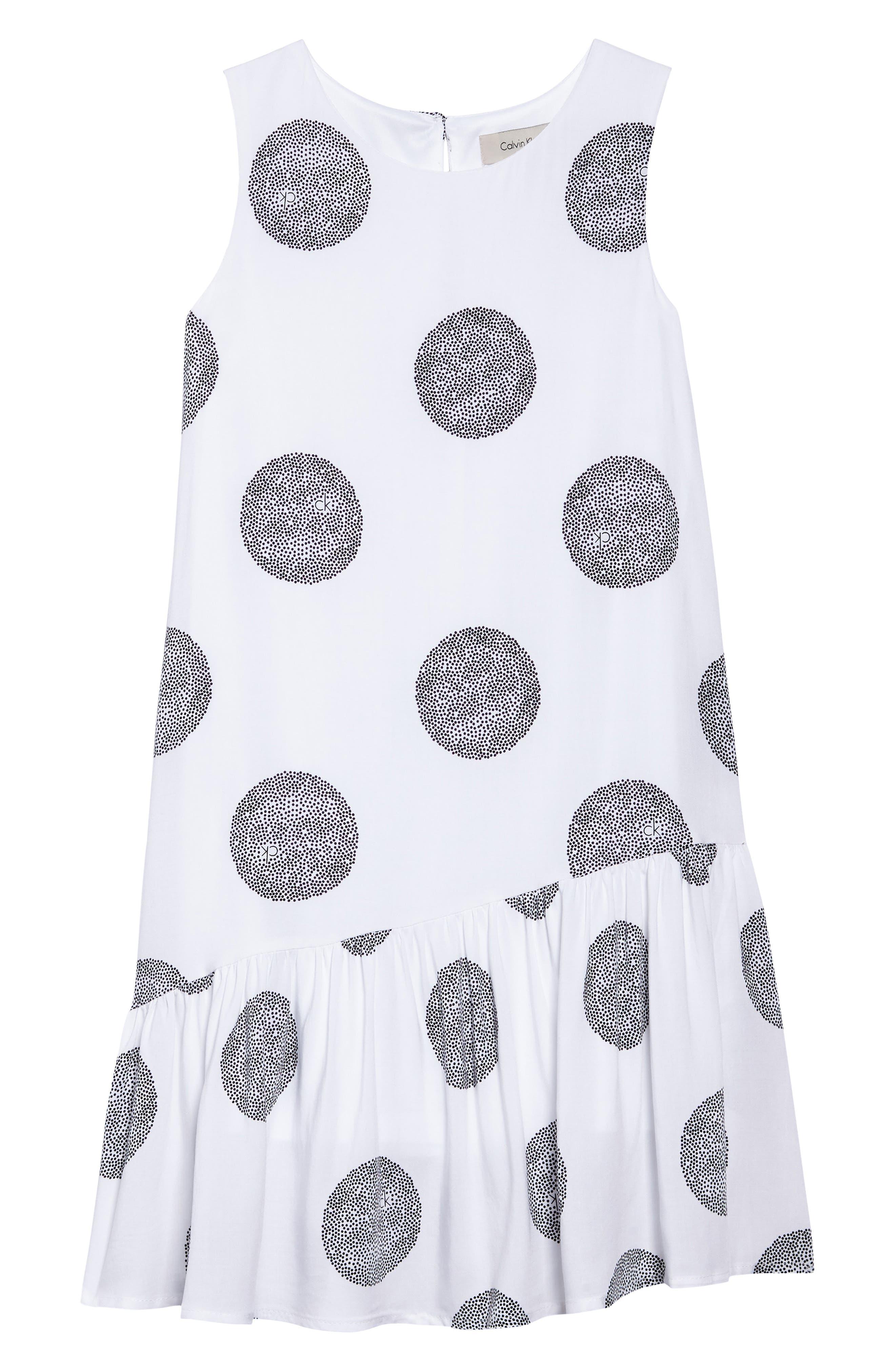 Asymmetrical Ruffle Dress,                         Main,                         color, White
