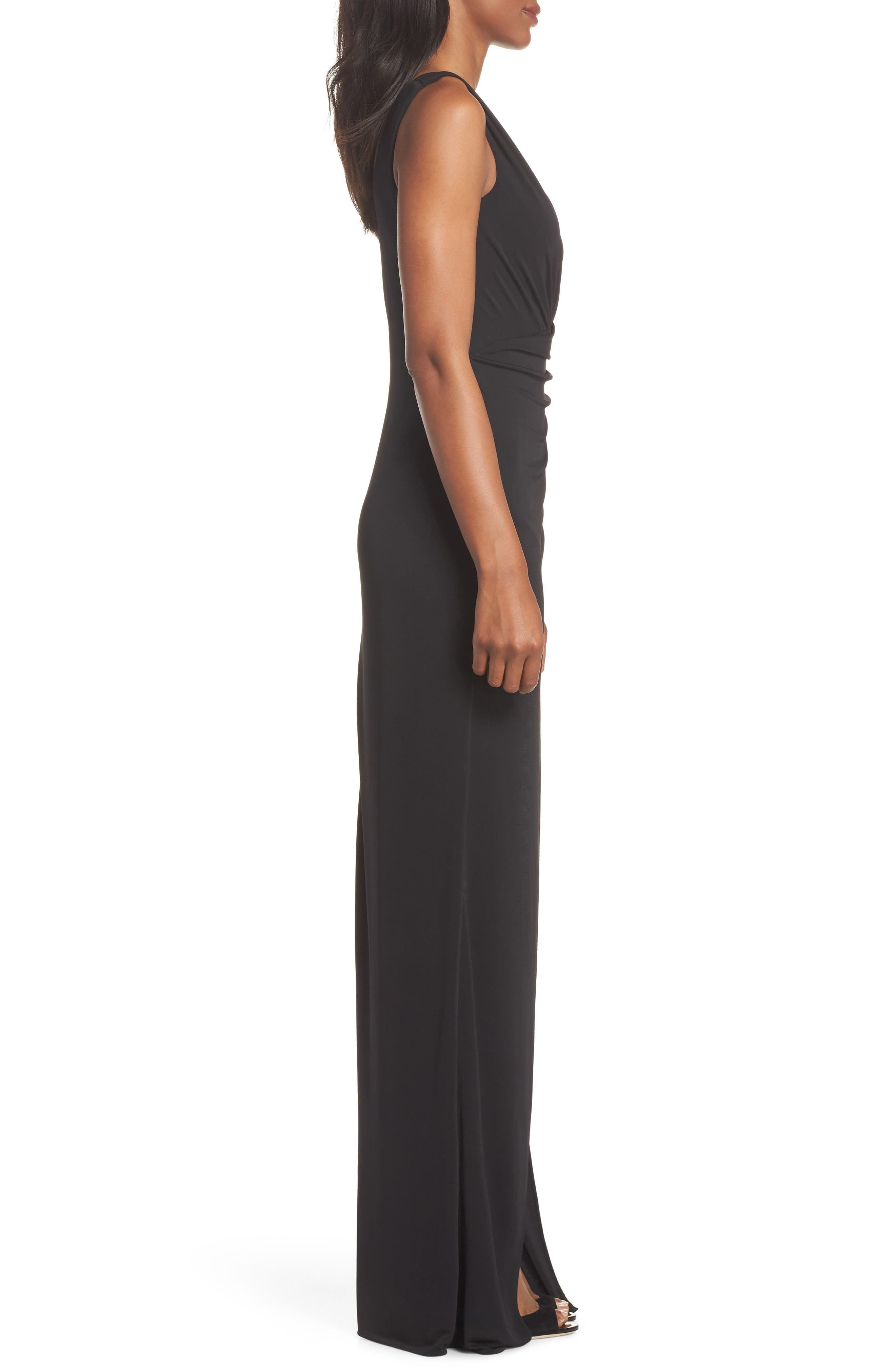 Kerri One-Shoulder Gown,                             Alternate thumbnail 3, color,                             Black