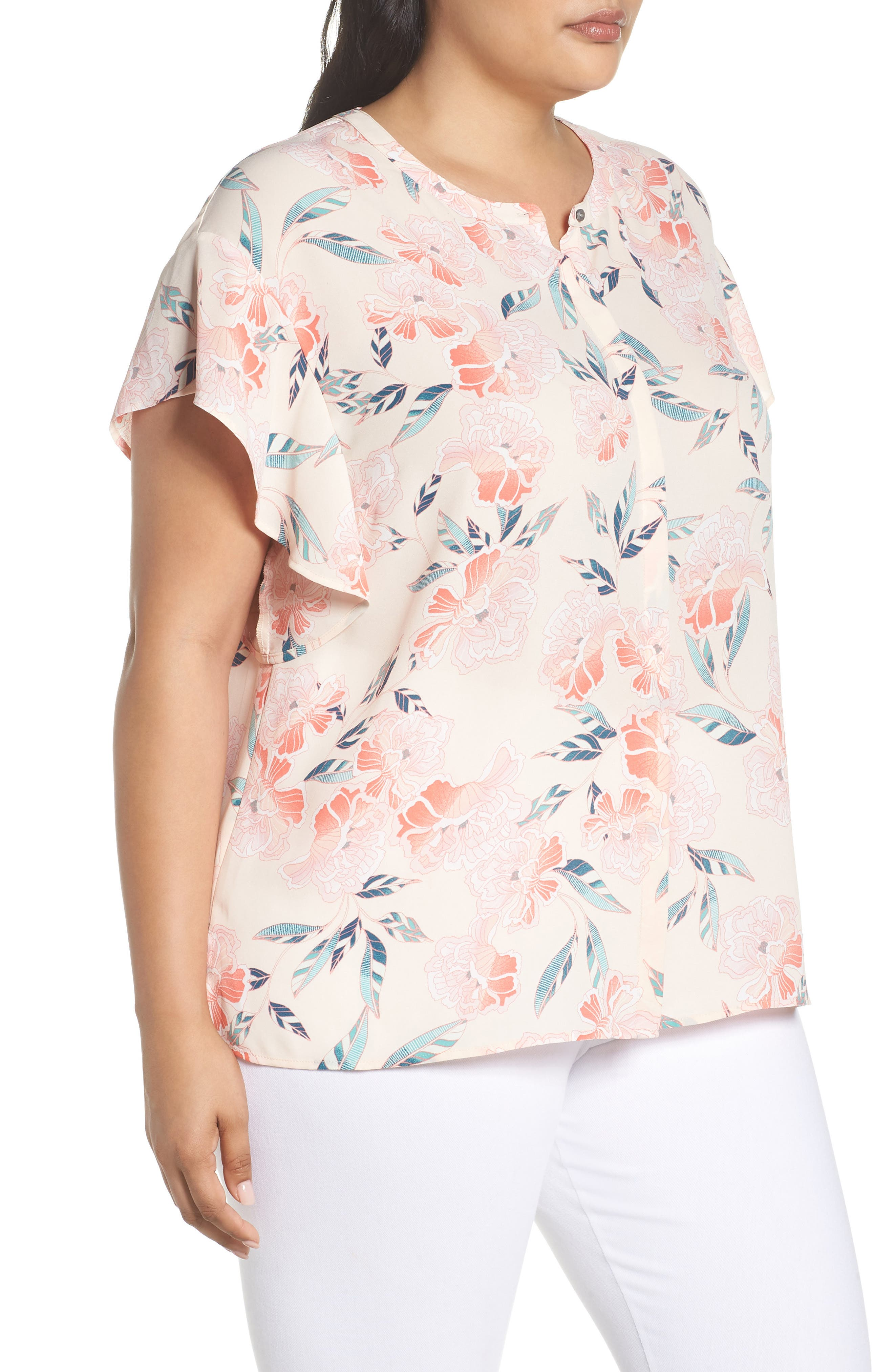 Flutter Sleeve Top,                             Alternate thumbnail 3, color,                             Pink Oriental Print
