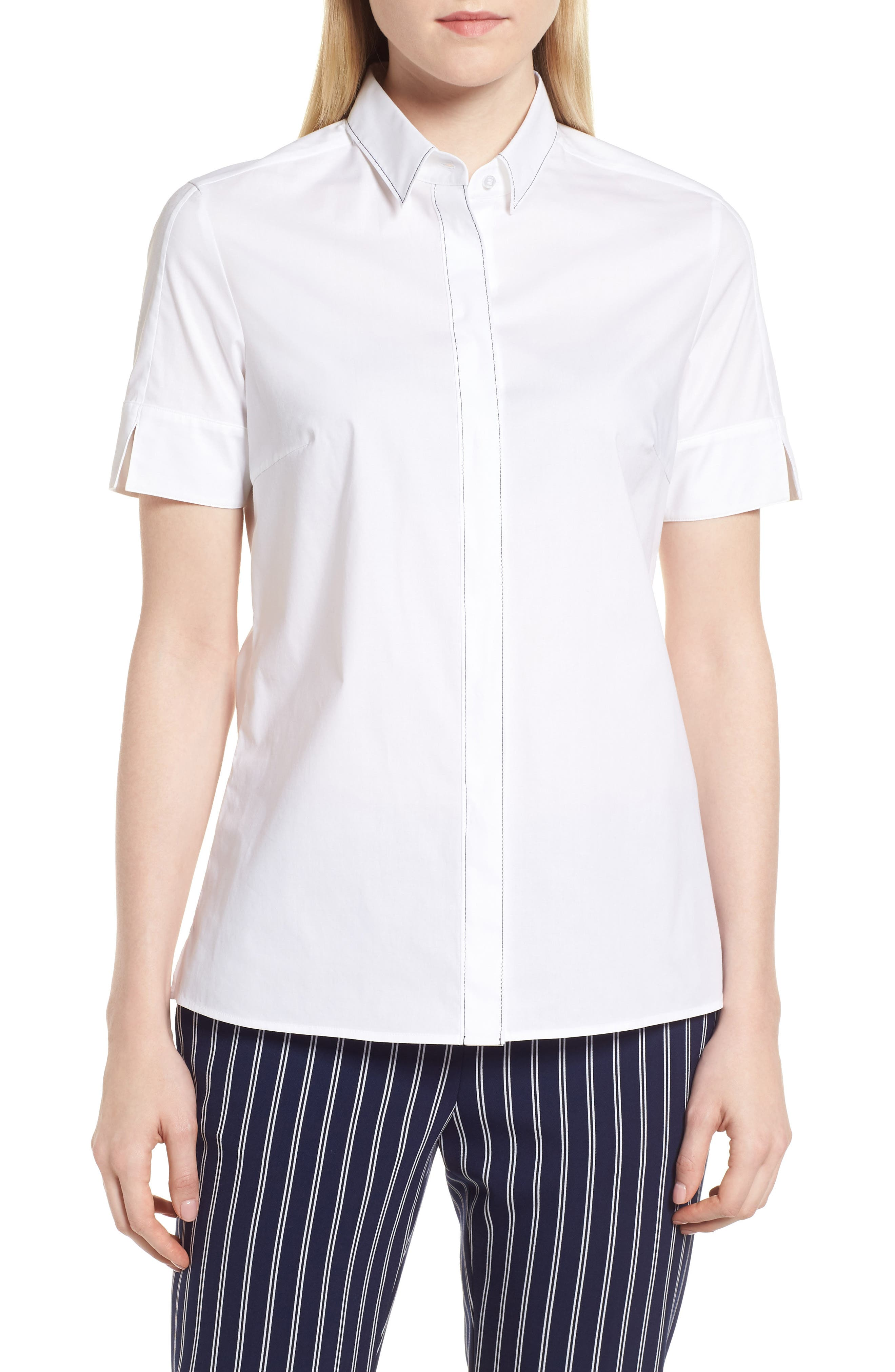 Balasera Stretch Cotton Blouse,                         Main,                         color, White