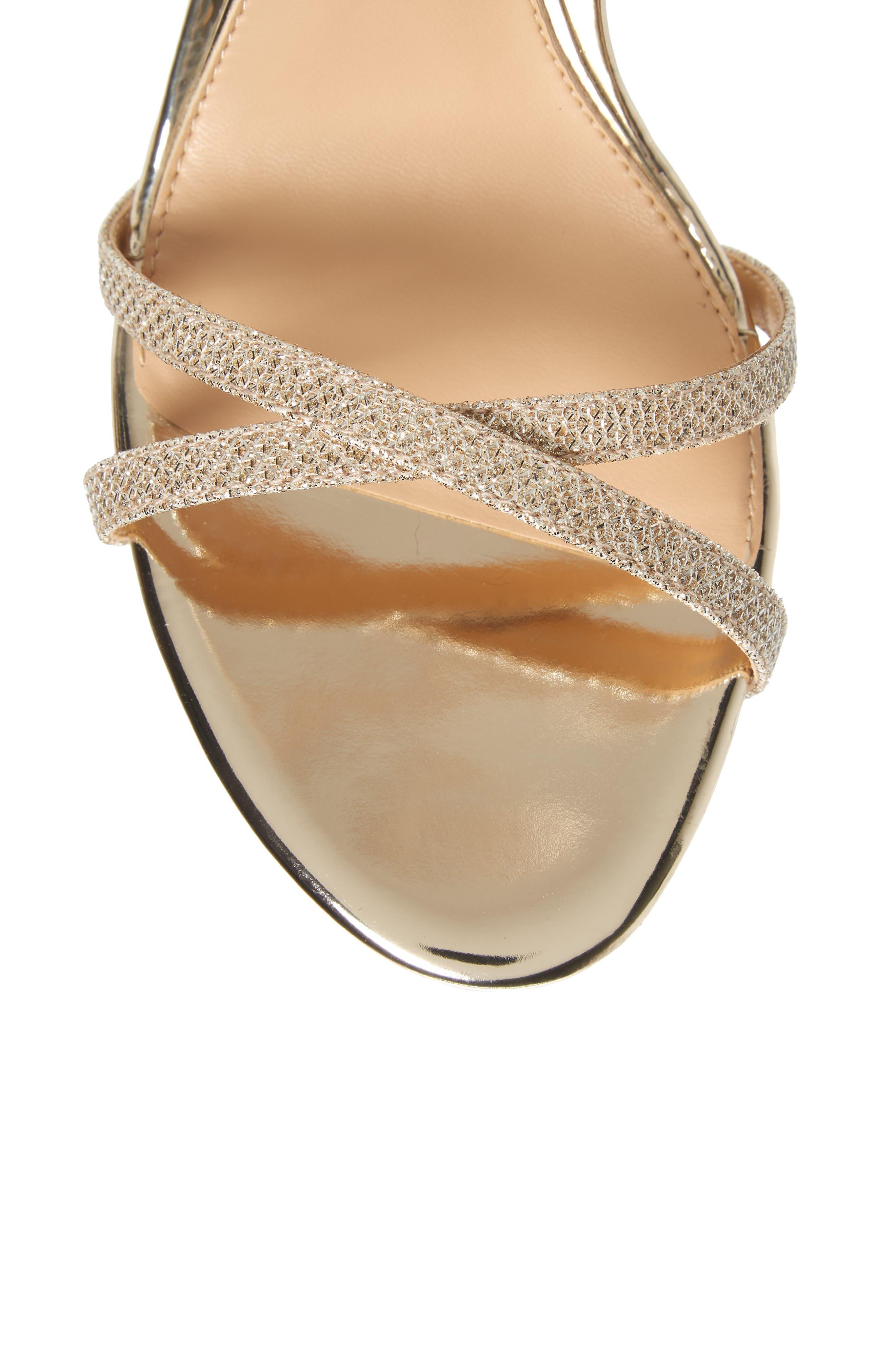 Galen Strappy Platform Sandal,                             Alternate thumbnail 5, color,                             Gold Glitter Fabric