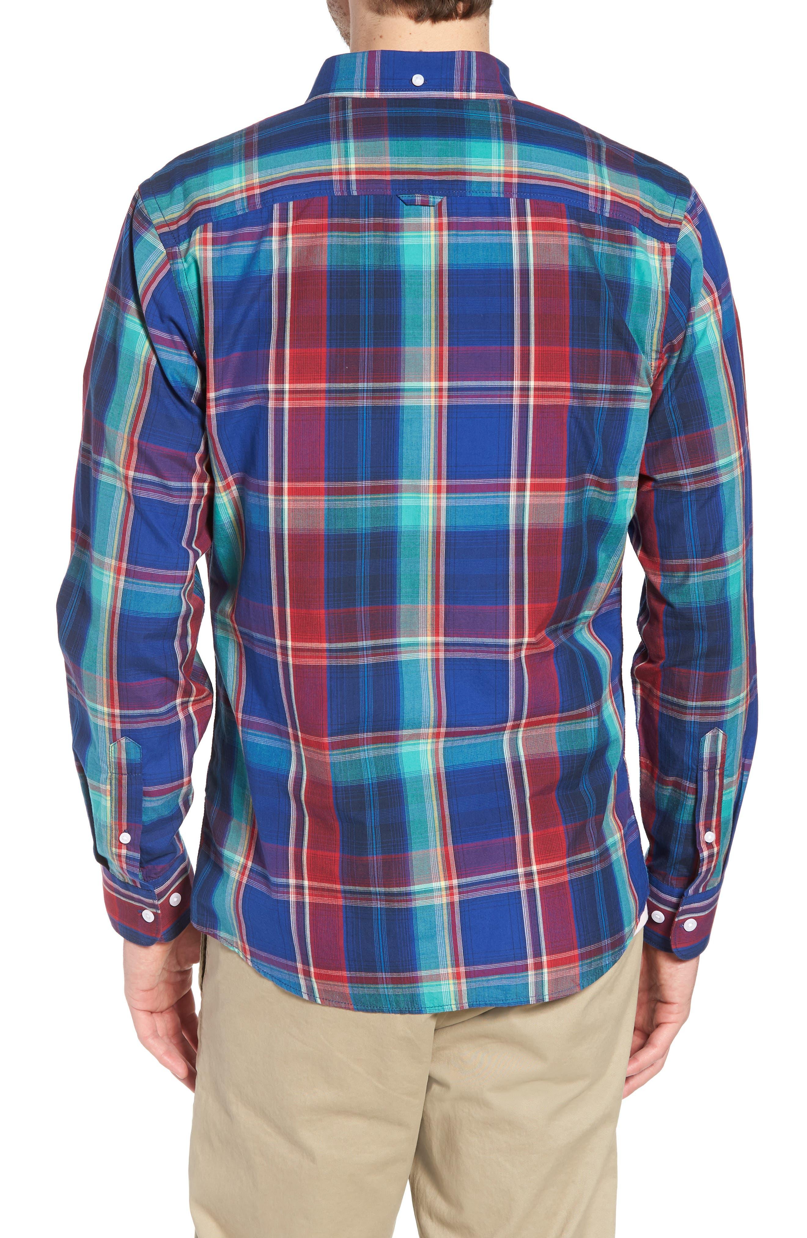 Ivy Trim Fit Madras Plaid Sport Shirt,                             Alternate thumbnail 3, color,                             Navy Red Fine Line Plaid