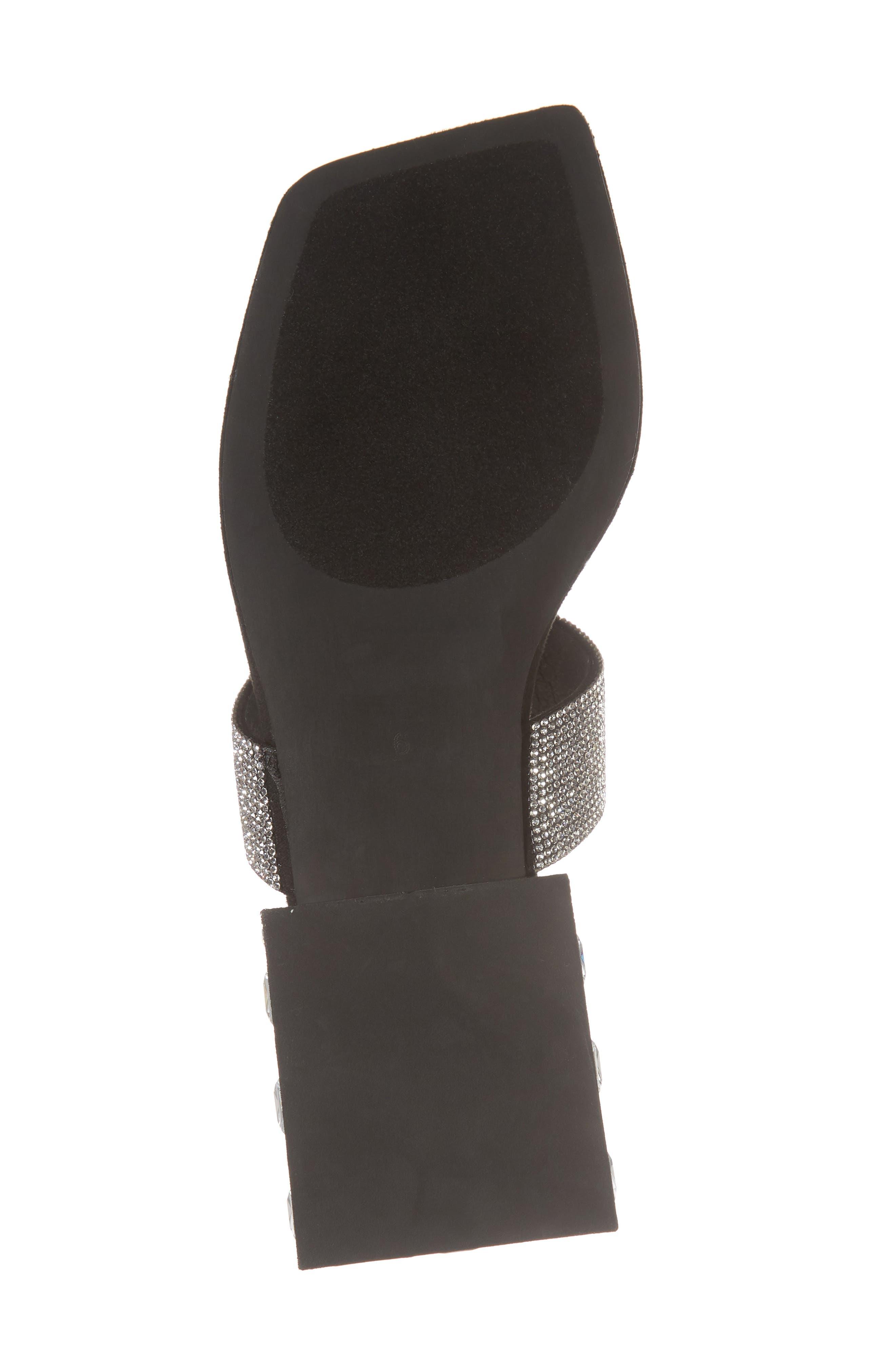 Alise Embellished Sandal,                             Alternate thumbnail 6, color,                             Black Suede/ Silver