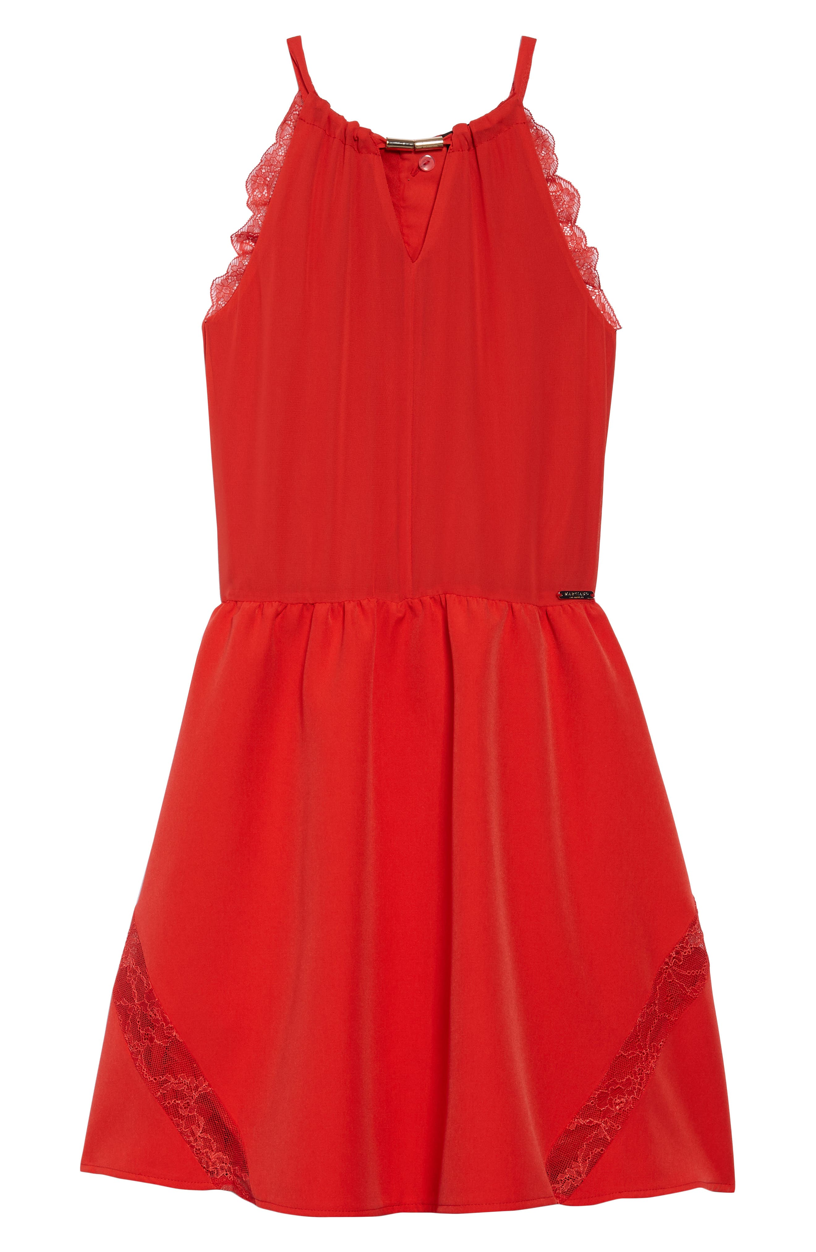 Main Image - Marciano Lace Trimmed Halter Dress (Big Girls)