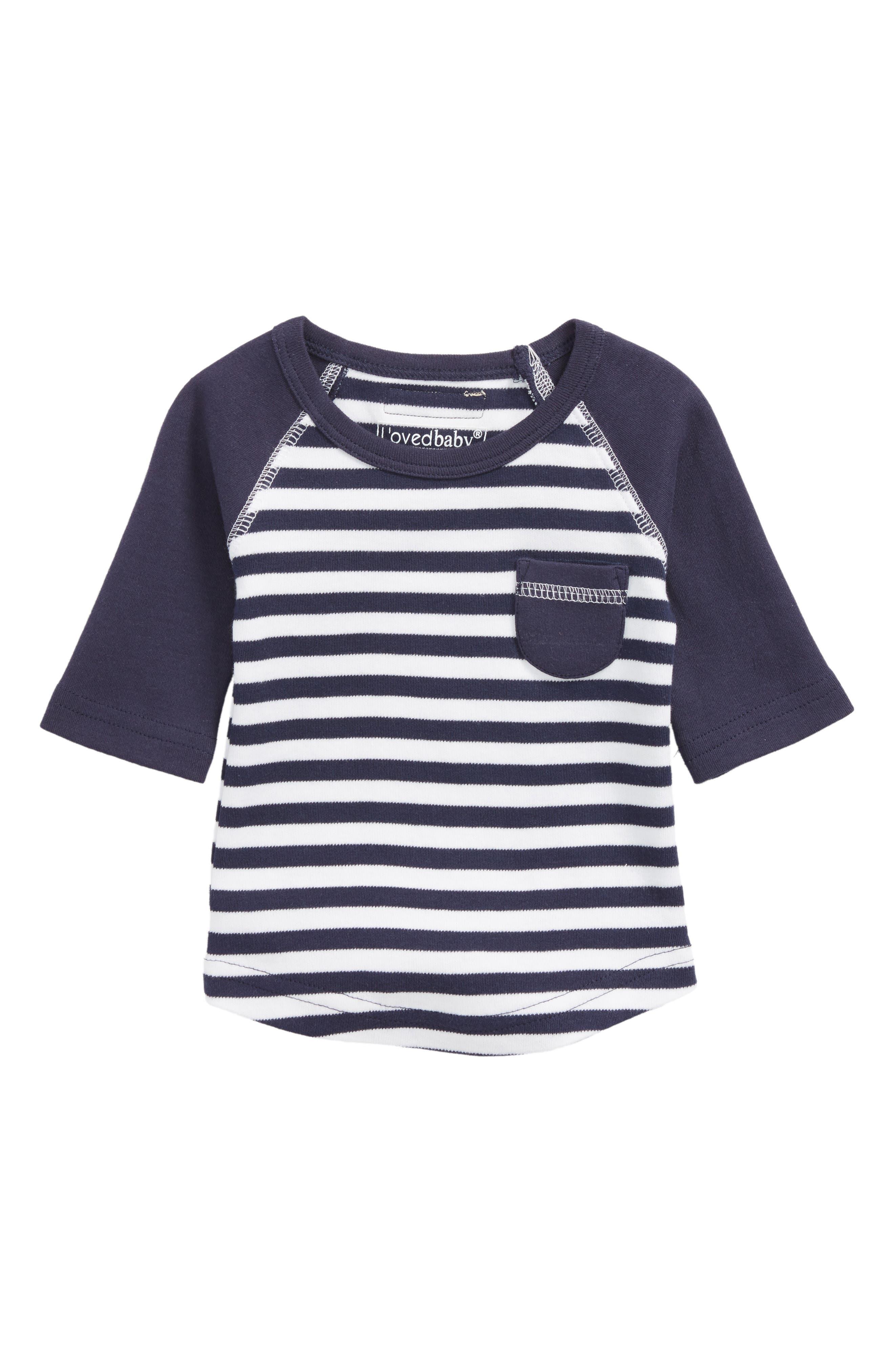 Stripe Organic Cotton Raglan T-Shirt,                             Main thumbnail 1, color,                             Navy/ White