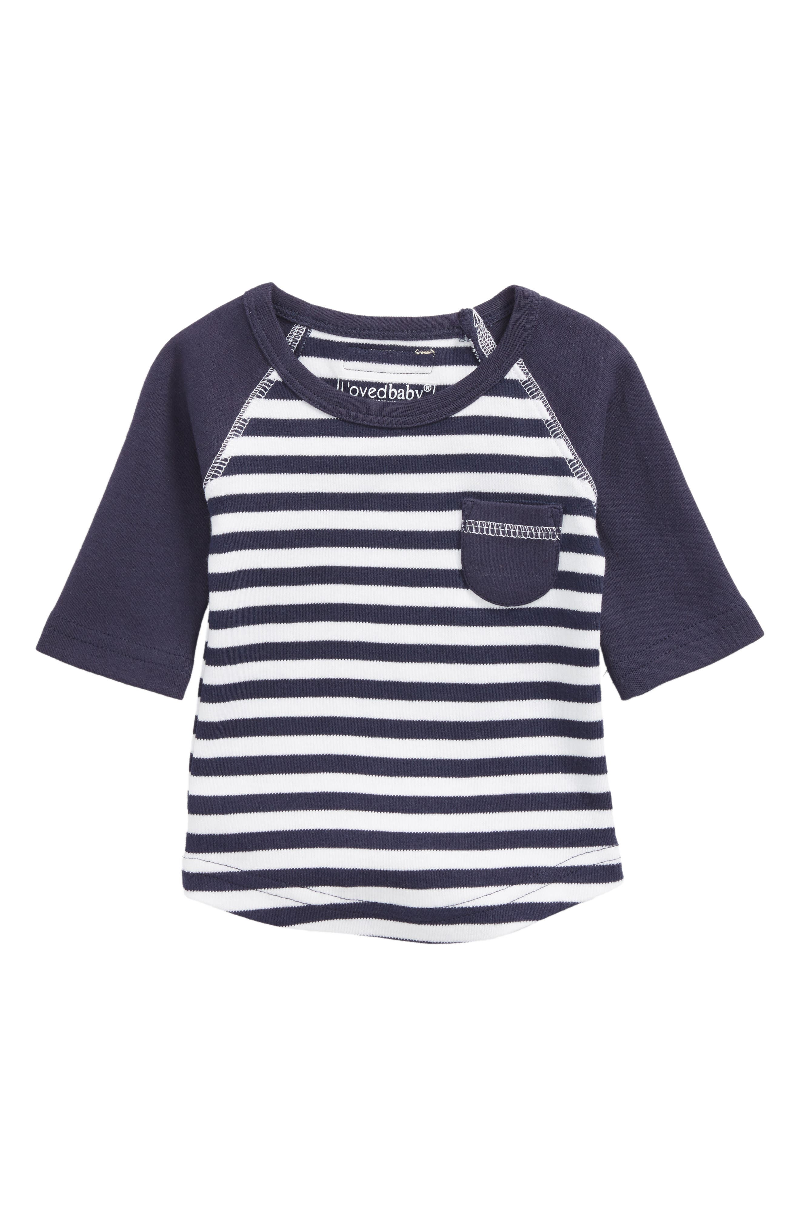 L'ovedbaby Stripe Organic Cotton Raglan T-Shirt (Baby Boys)