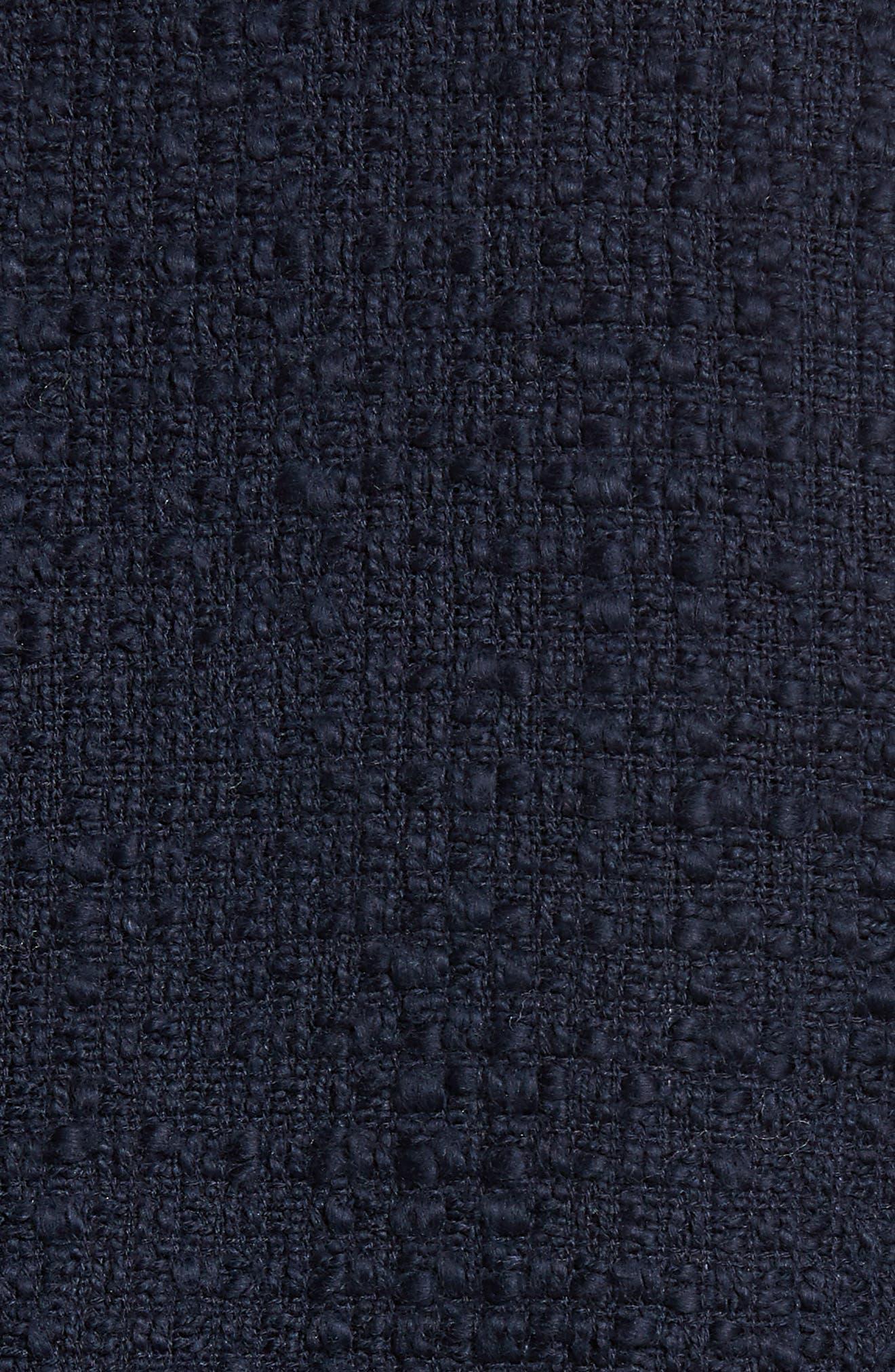 Ribbon Trim Textured Cotton Open Front Jacket,                             Alternate thumbnail 6, color,                             Navy Night