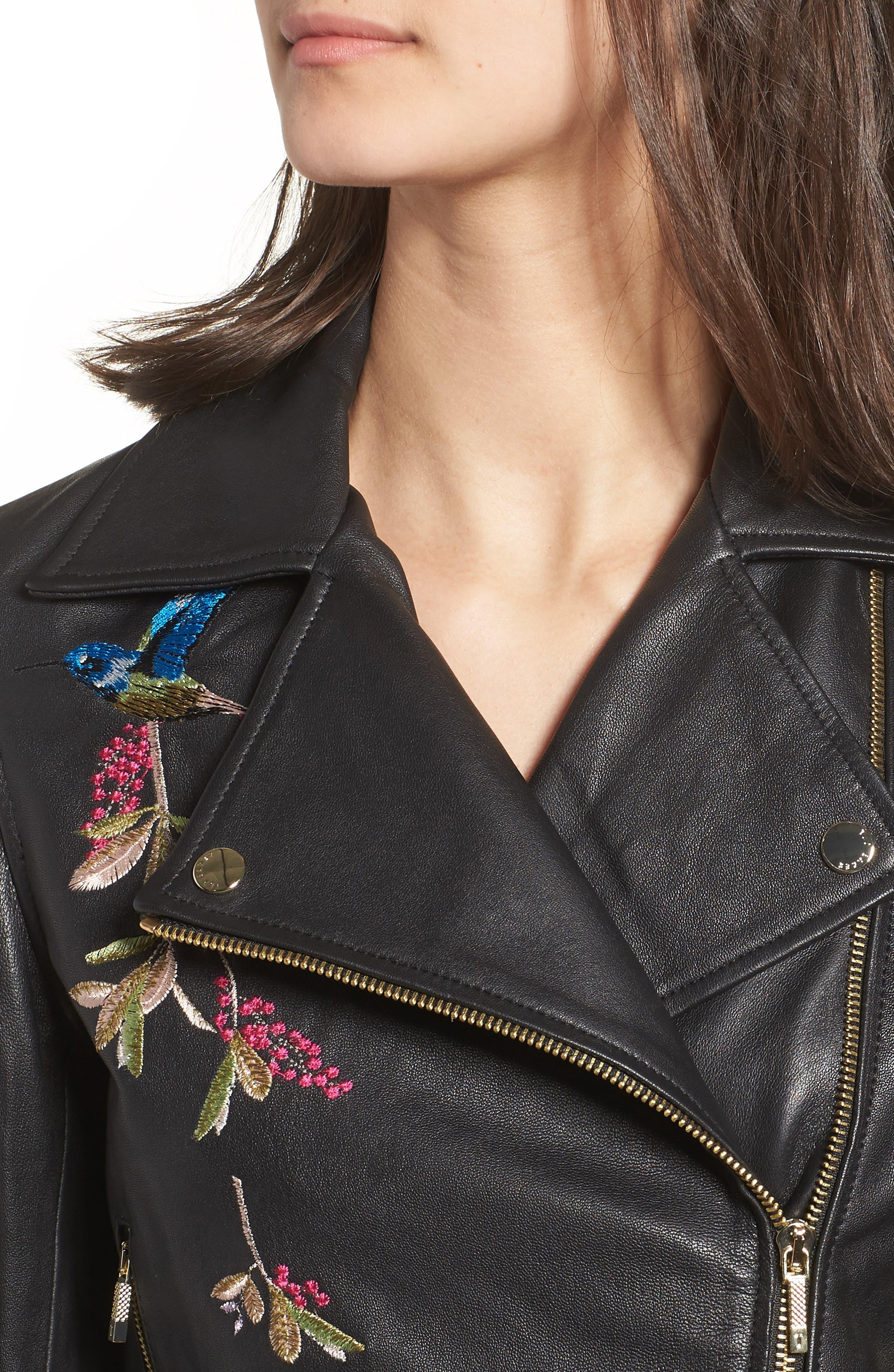 Highgrove Leather BIker Jacket,                             Alternate thumbnail 4, color,                             Black