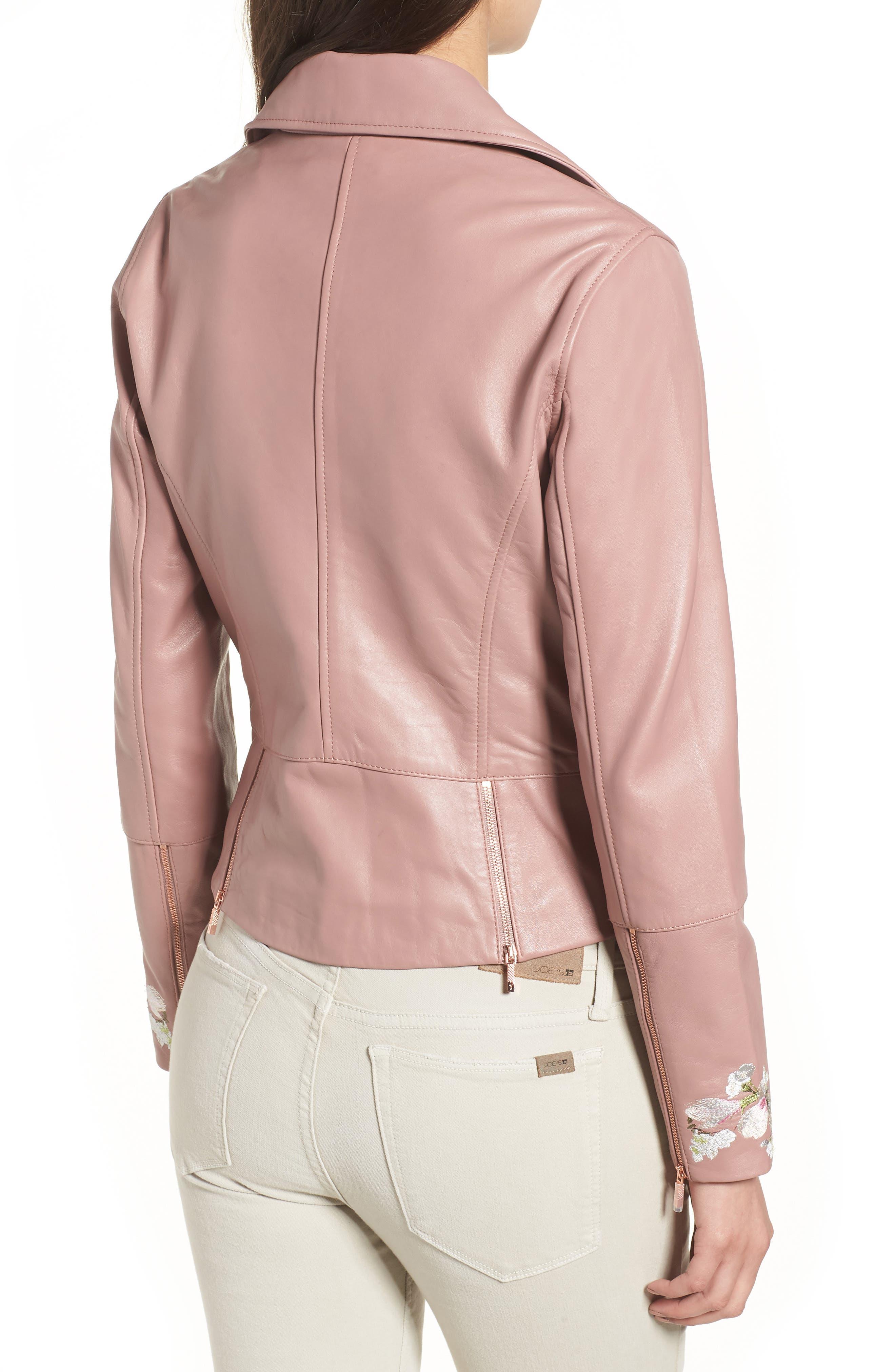 Harmony Embroidered Leather Biker Jacket,                             Alternate thumbnail 2, color,                             Dusky Pink