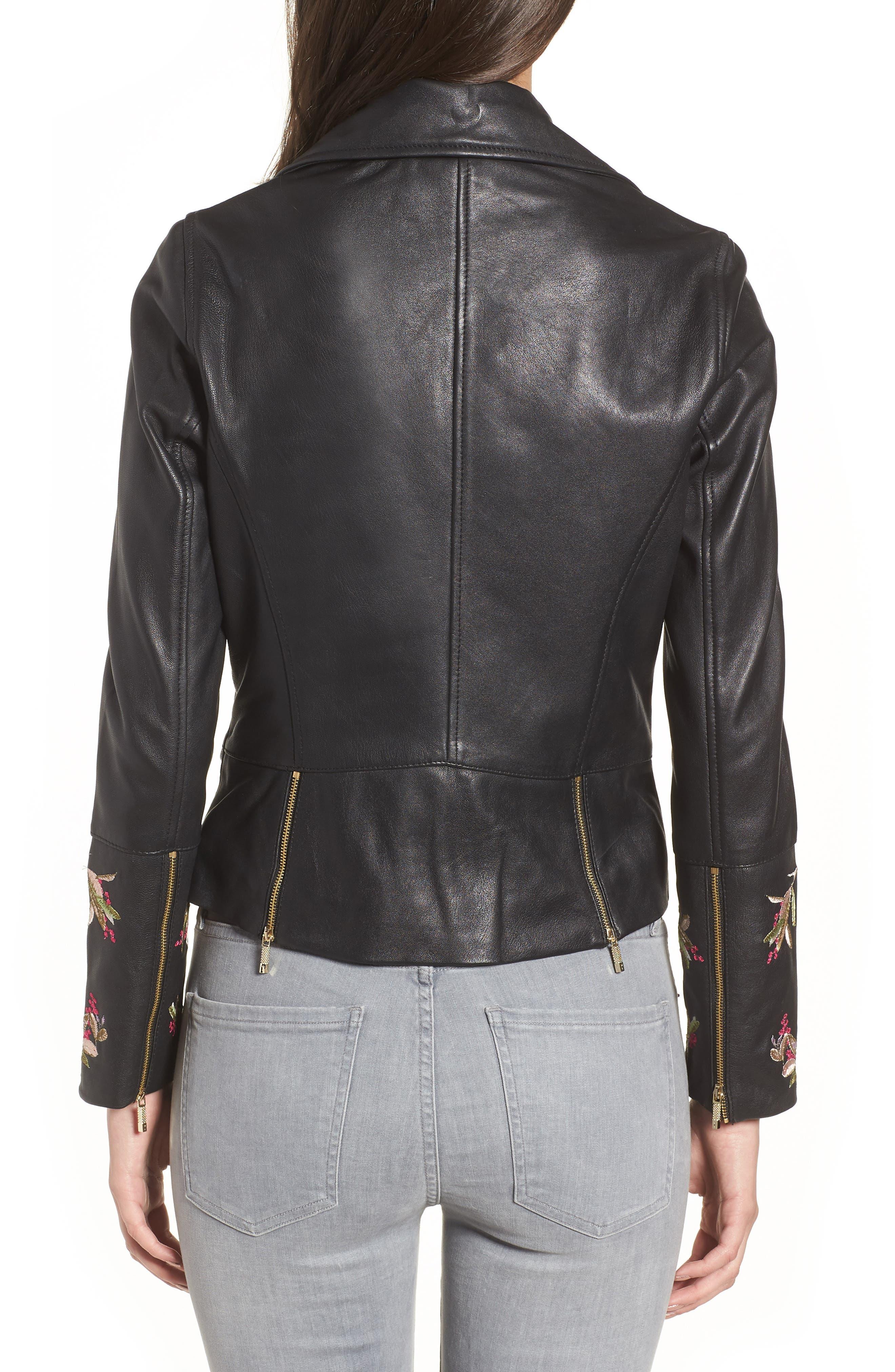 Highgrove Leather BIker Jacket,                             Alternate thumbnail 2, color,                             Black