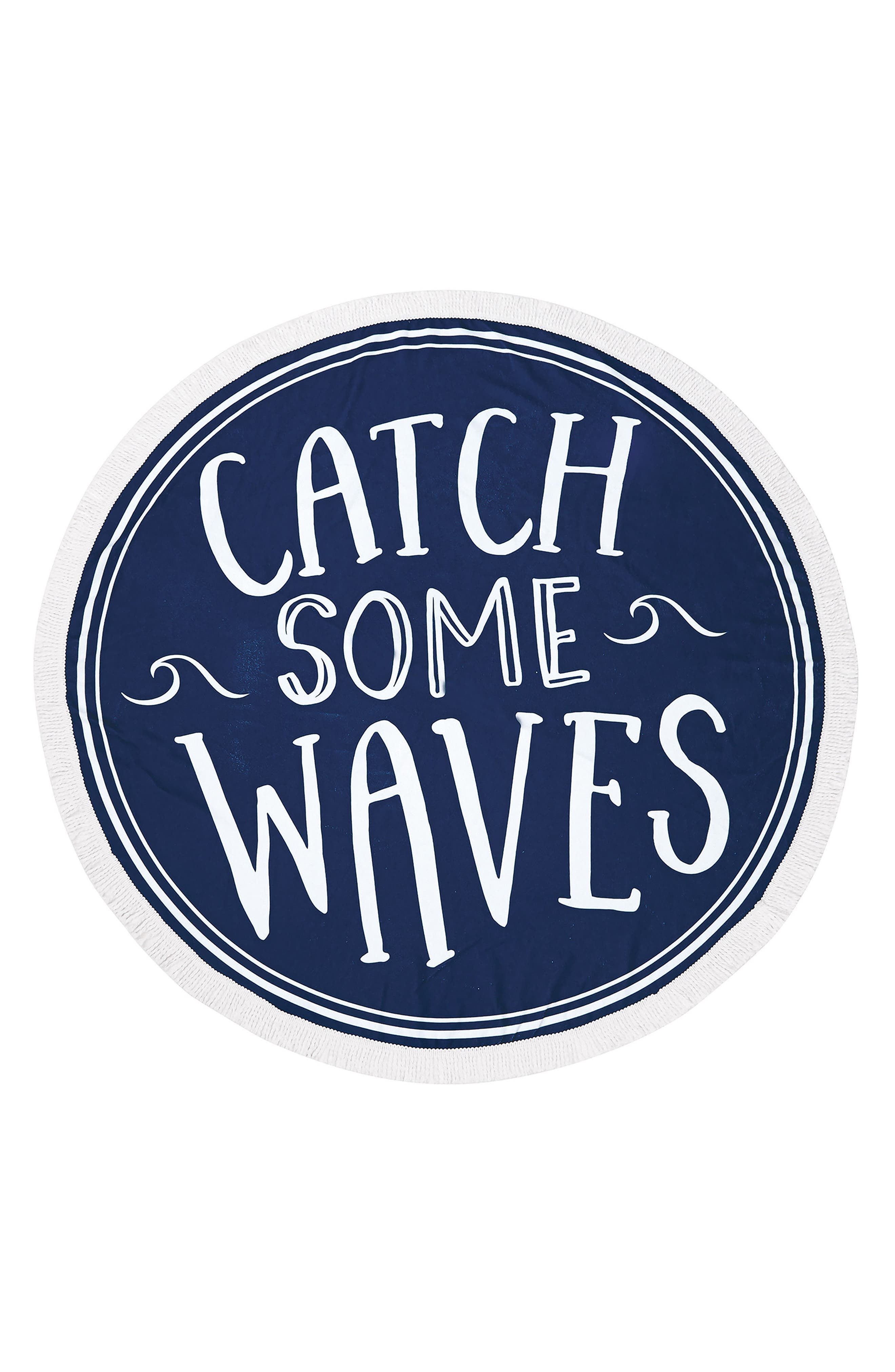 Catch Some Waves Round Beach Towel,                             Main thumbnail 1, color,                             Blue