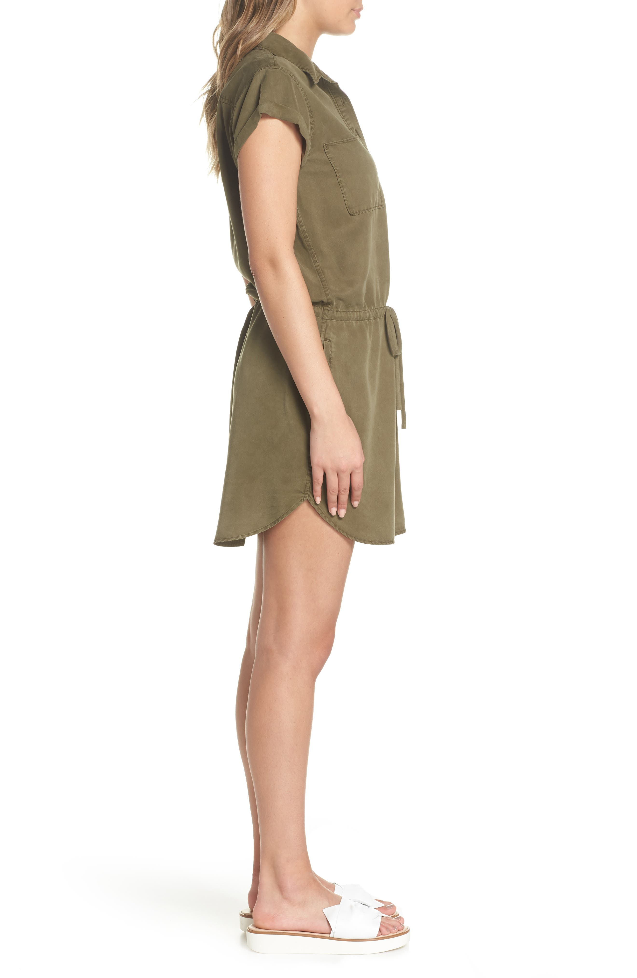 Mila Shirtdress,                             Alternate thumbnail 3, color,                             Desert Olive