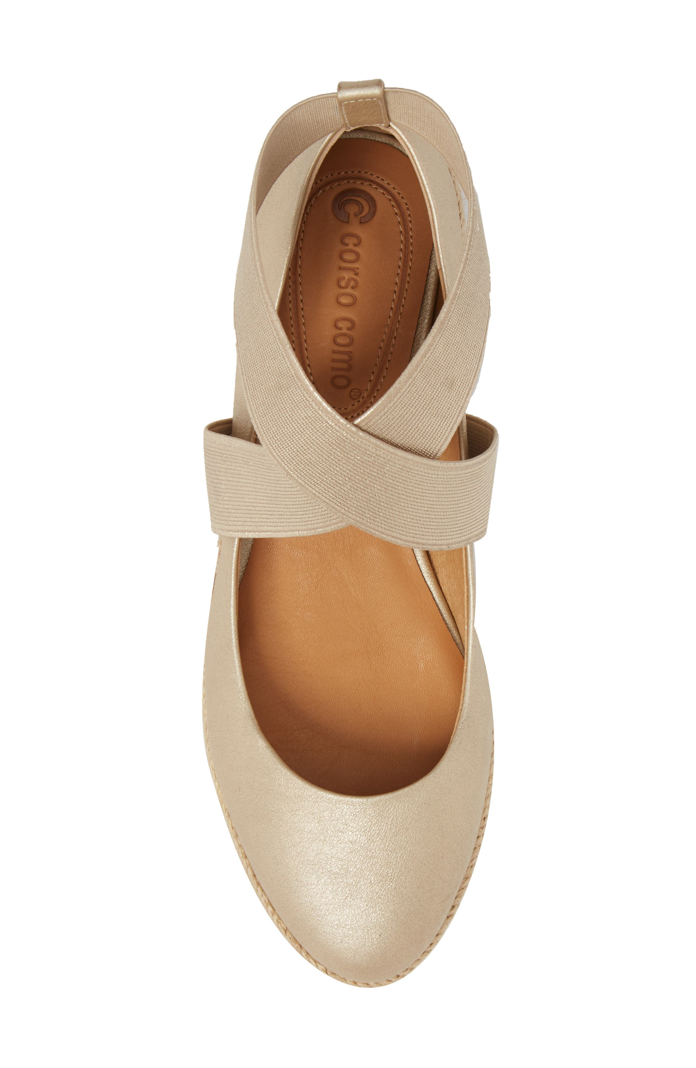 Bellah Espadrille Wedge,                             Alternate thumbnail 5, color,                             Soft Gold Leather