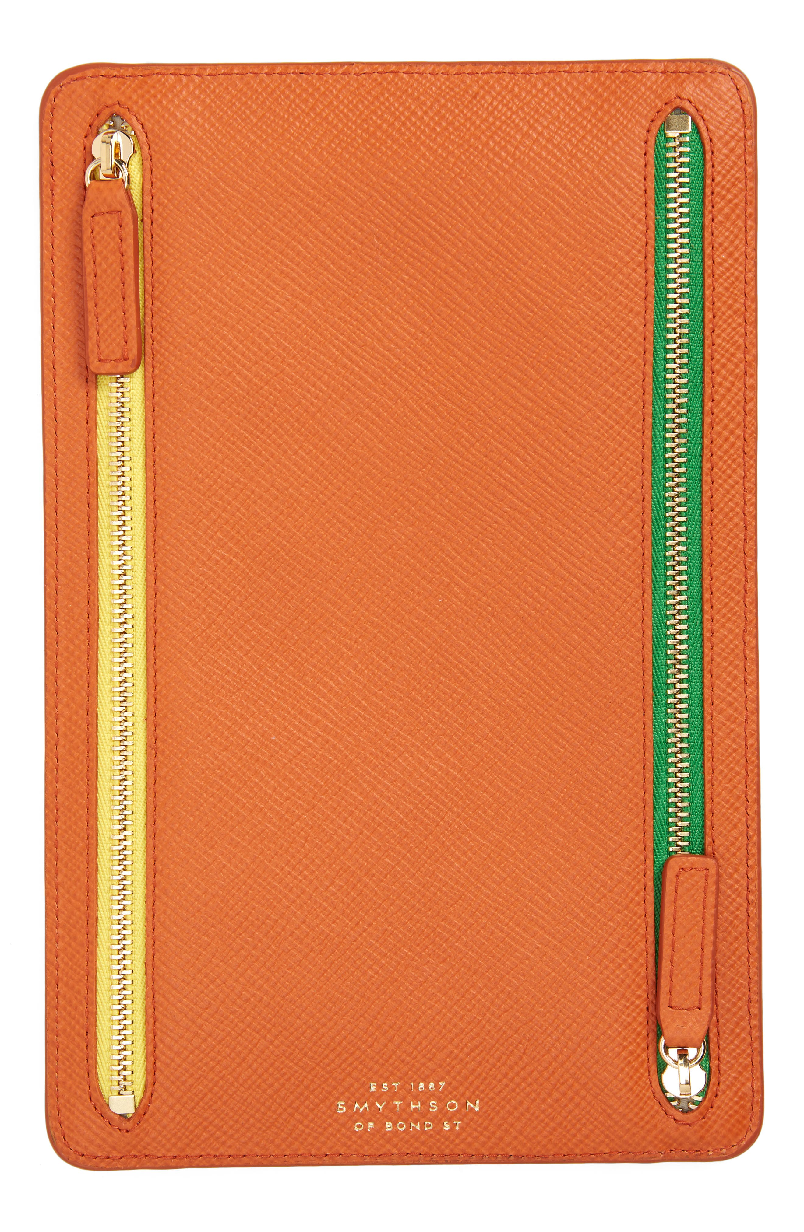 Panama Leather Currency Case,                             Main thumbnail 1, color,                             Papaya
