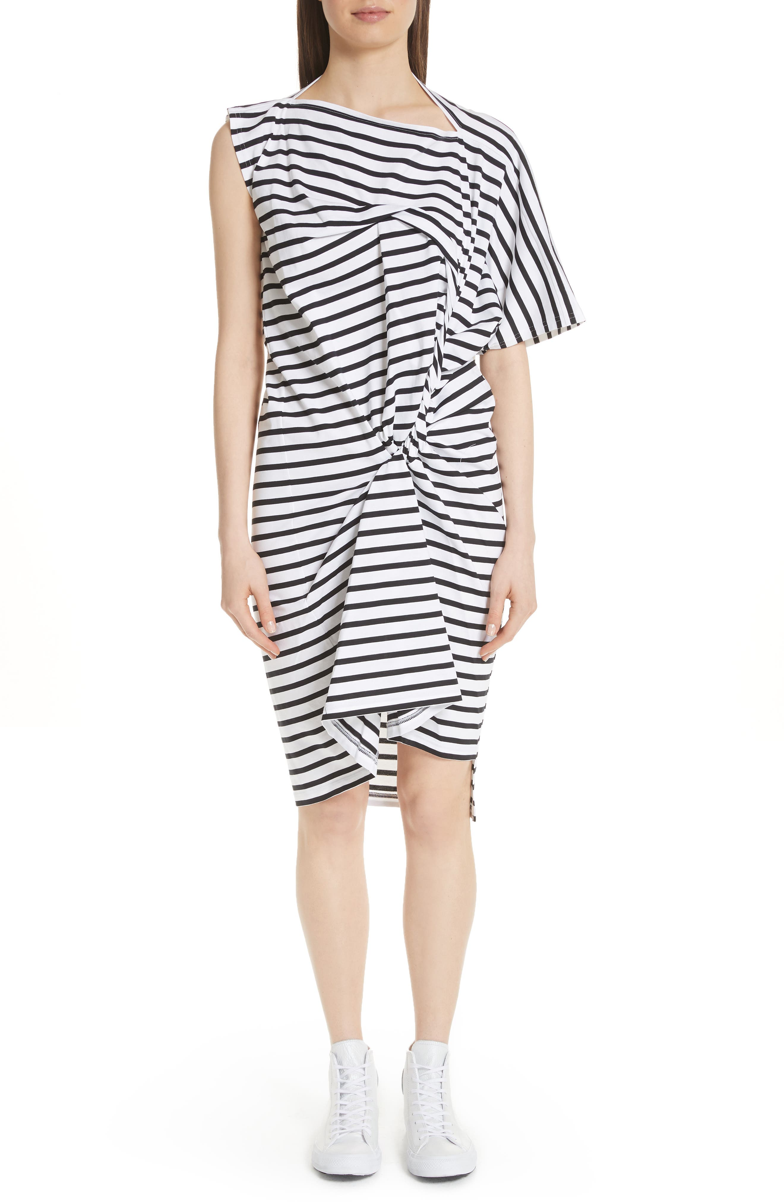 Asymmetrical Stripe Dress,                             Main thumbnail 1, color,                             White/ Black
