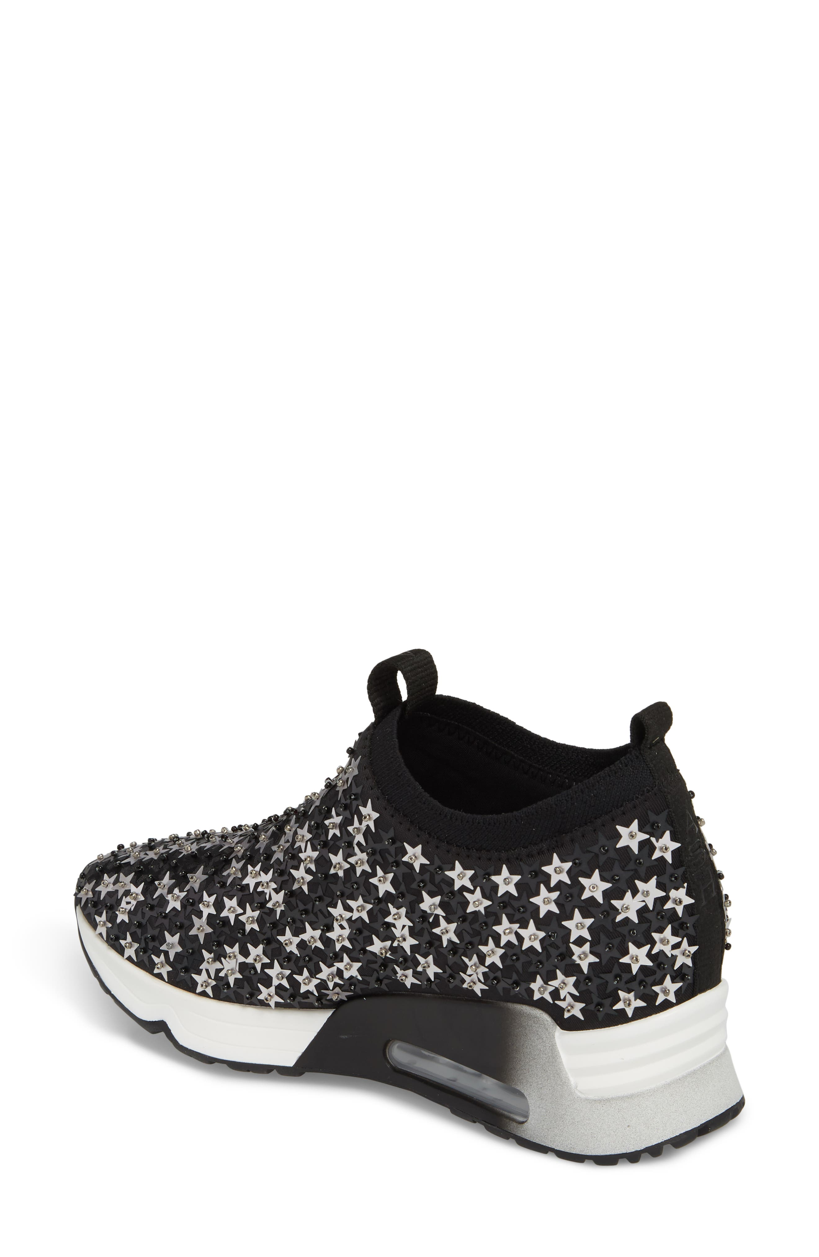 Lighting Star Platform Sock Sneaker,                             Alternate thumbnail 2, color,                             Black/ Silver