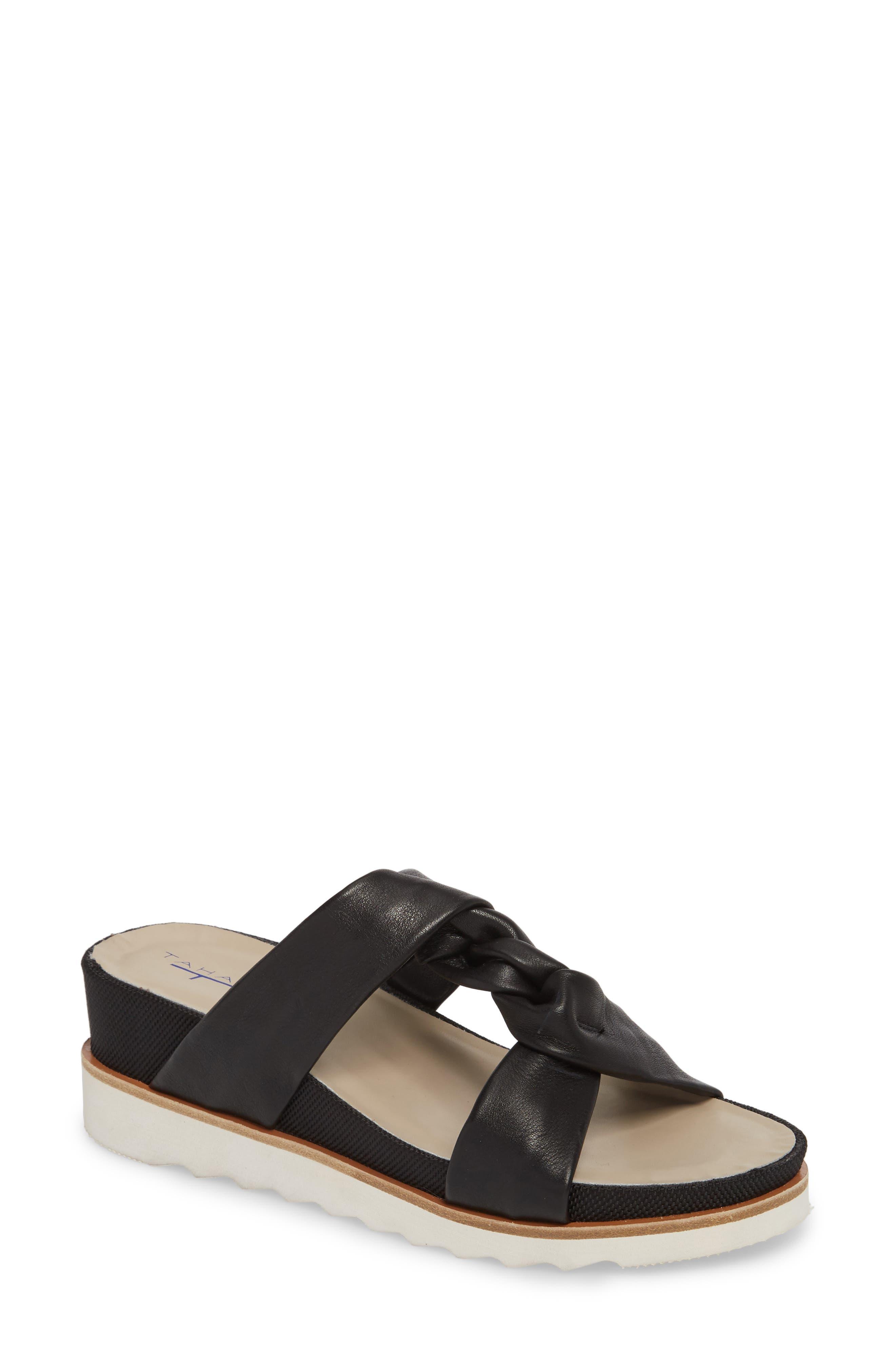 Ginger Slide Sandal,                             Main thumbnail 1, color,                             Black Leather