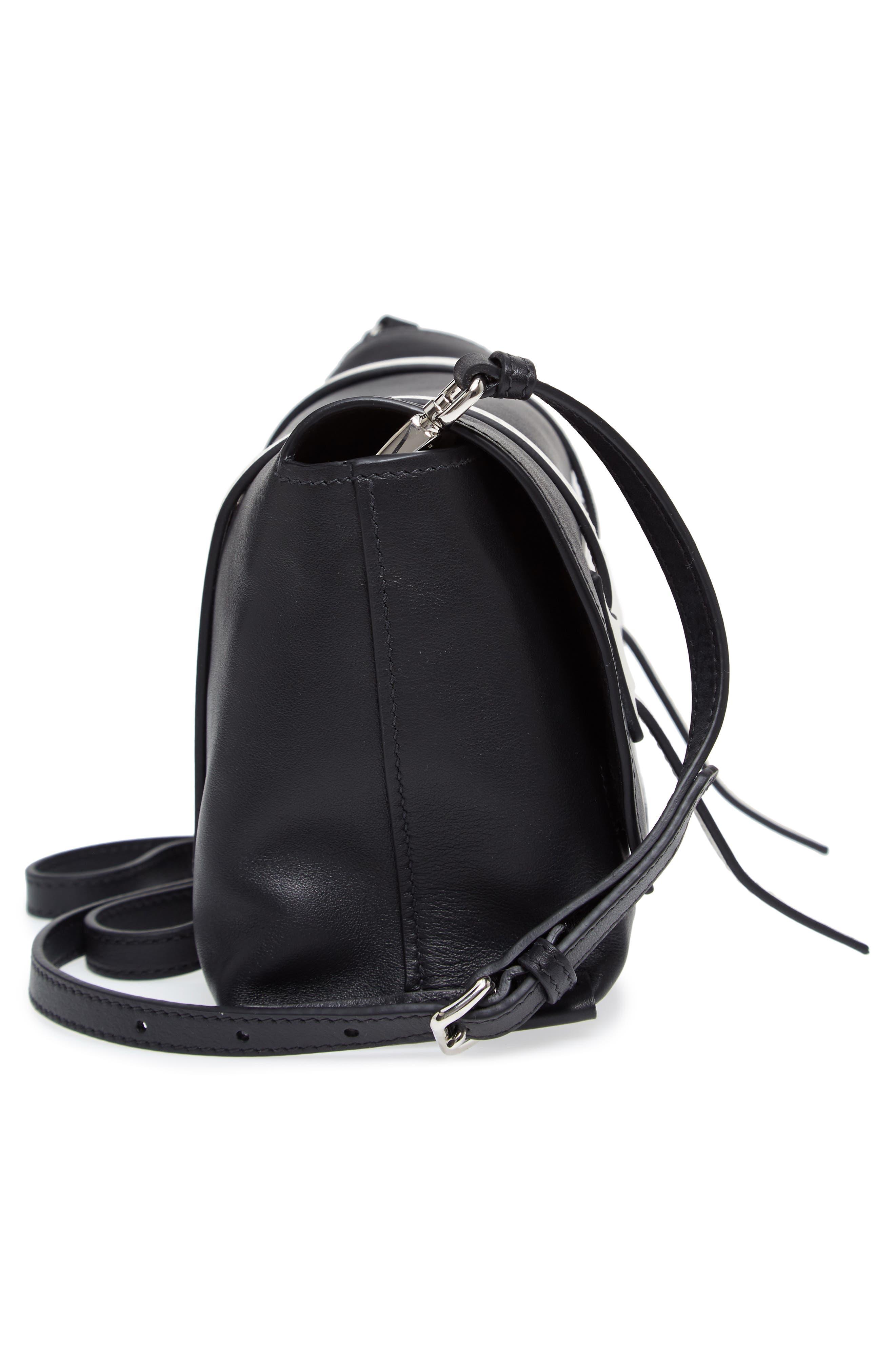 Small Grace Calfskin Shoulder Bag,                             Alternate thumbnail 5, color,                             Nero/ Bianco