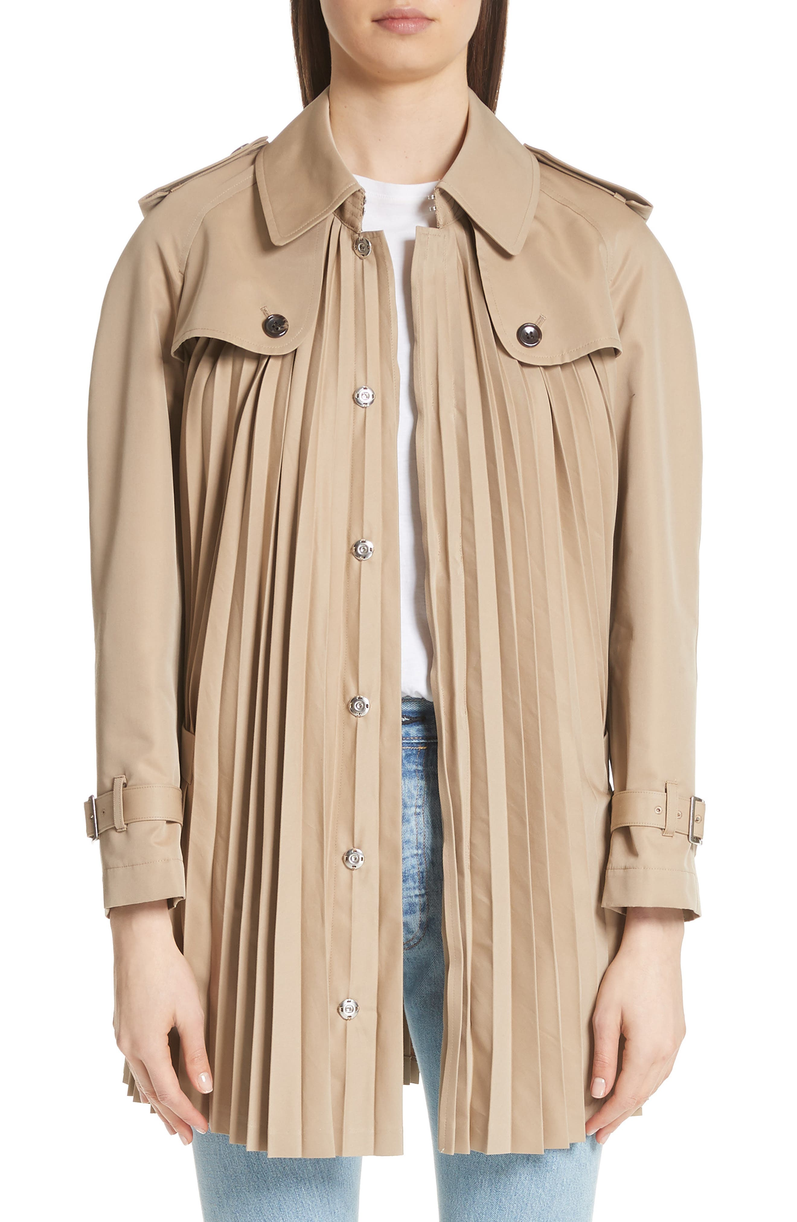 Pleated Cotton Blend Trench Coat,                             Main thumbnail 1, color,                             Beige