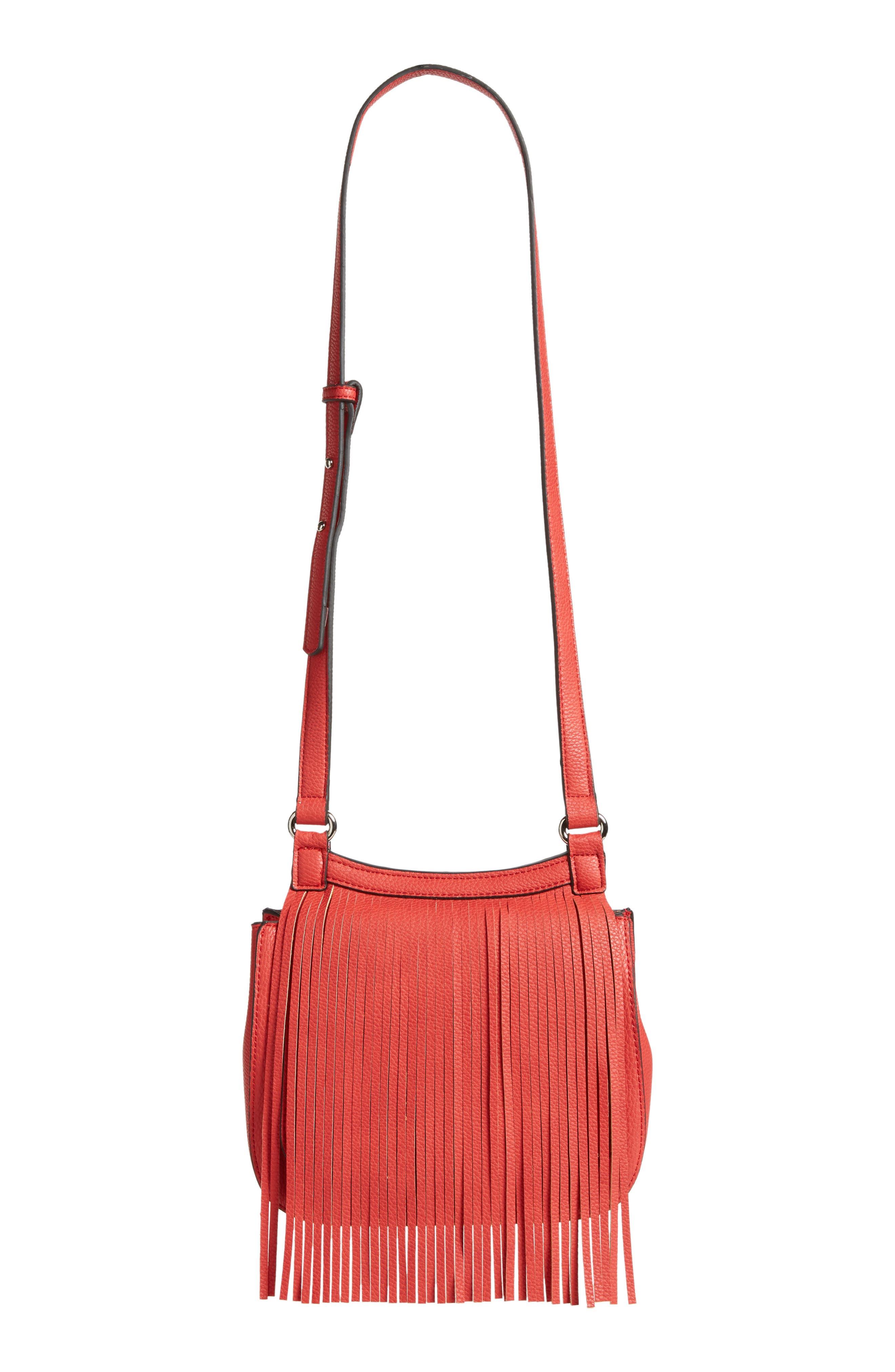 Mini Laine Fringe Crossbody Bag,                         Main,                         color, Red