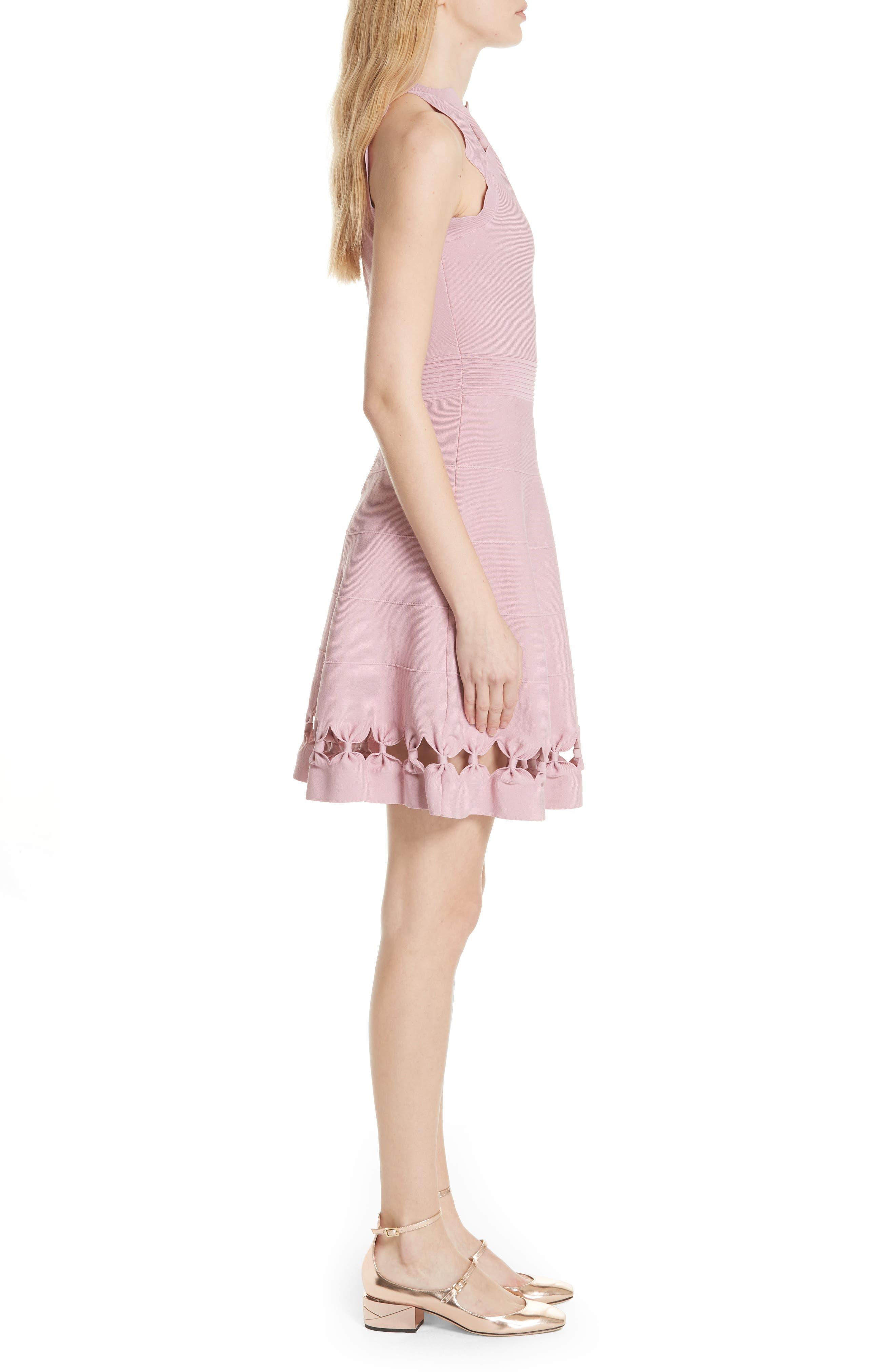 Bow Detail Knit Fit & Flare Dress,                             Alternate thumbnail 3, color,                             Dusky Pink