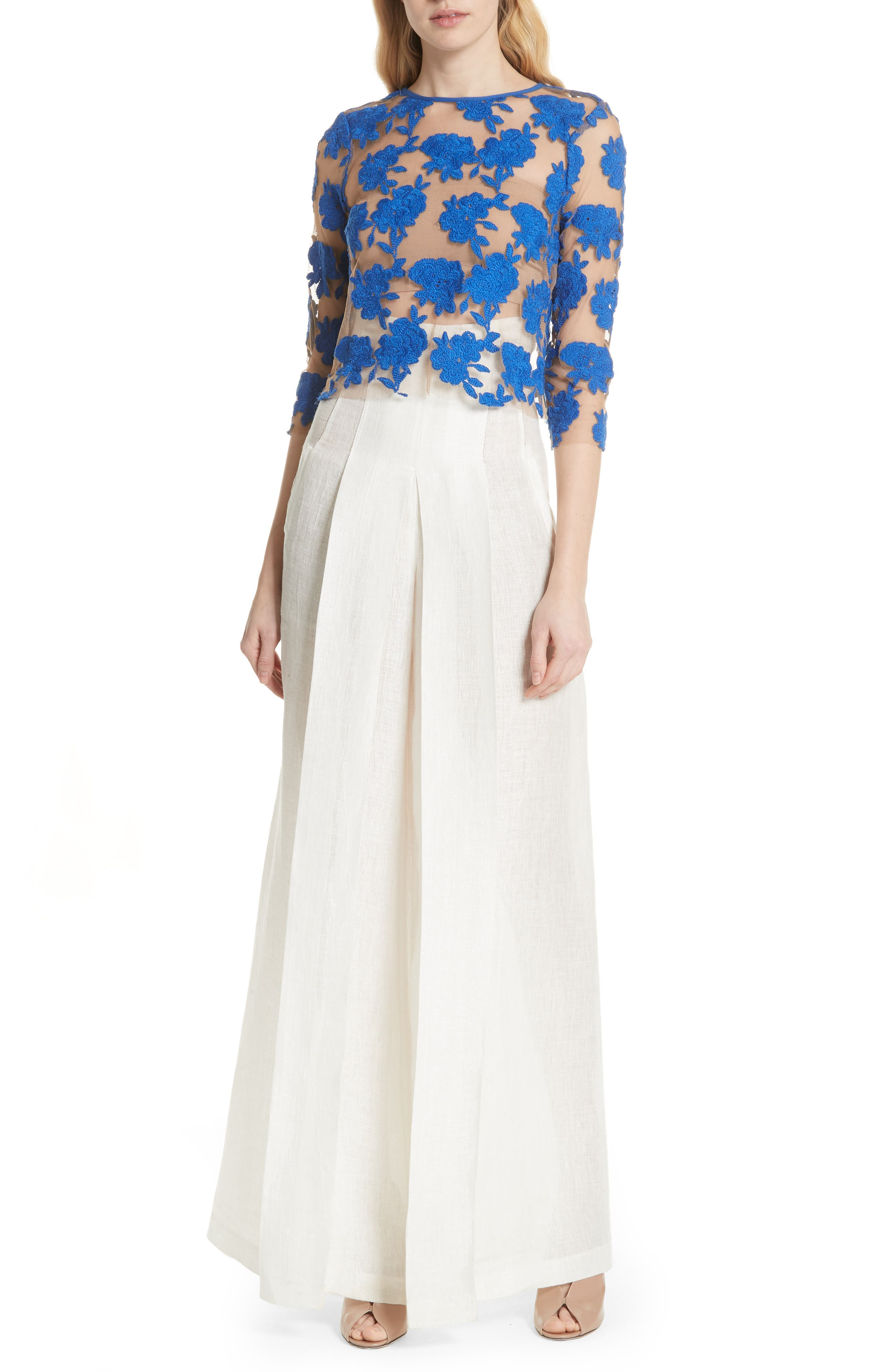 Sheer Embroidered Floral Top,                             Alternate thumbnail 7, color,                             Blue Pigment