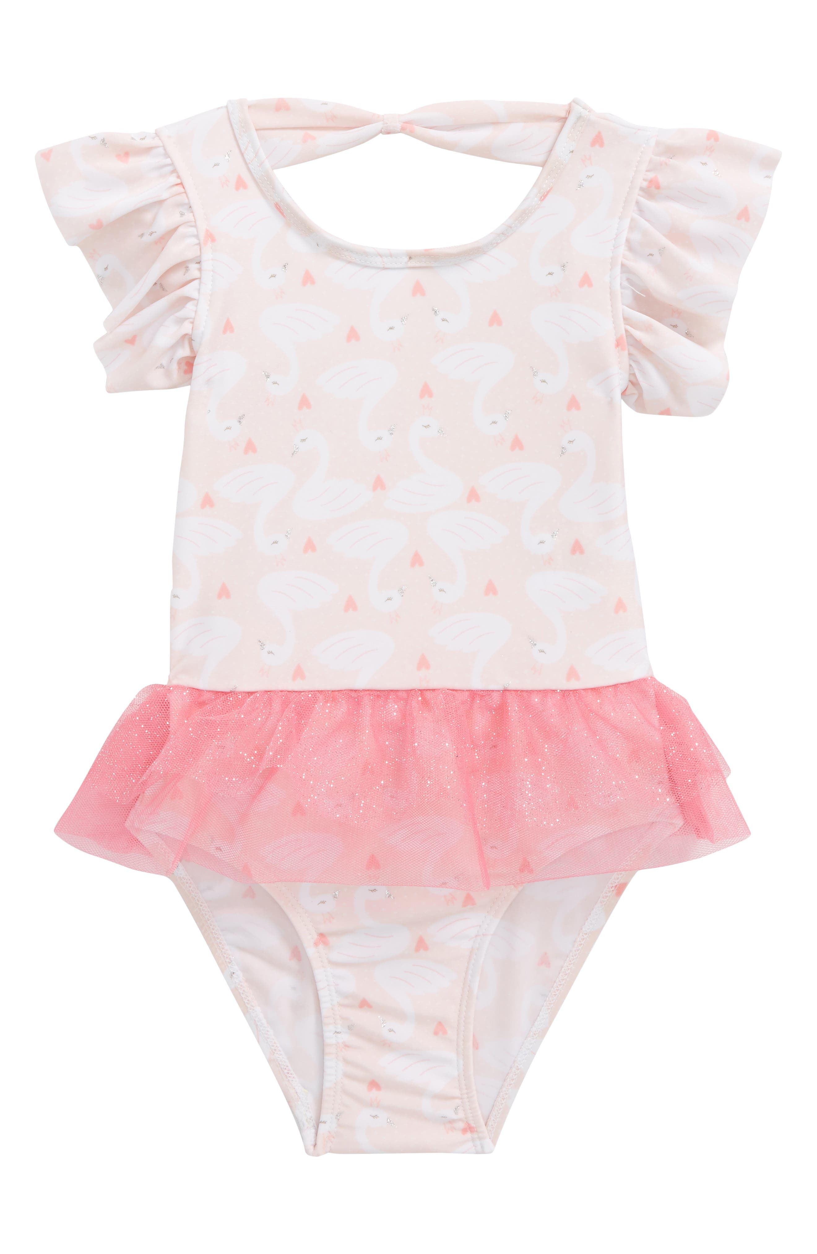 Princes Swan One-Piece Swimsuit,                         Main,                         color, Pink/ White