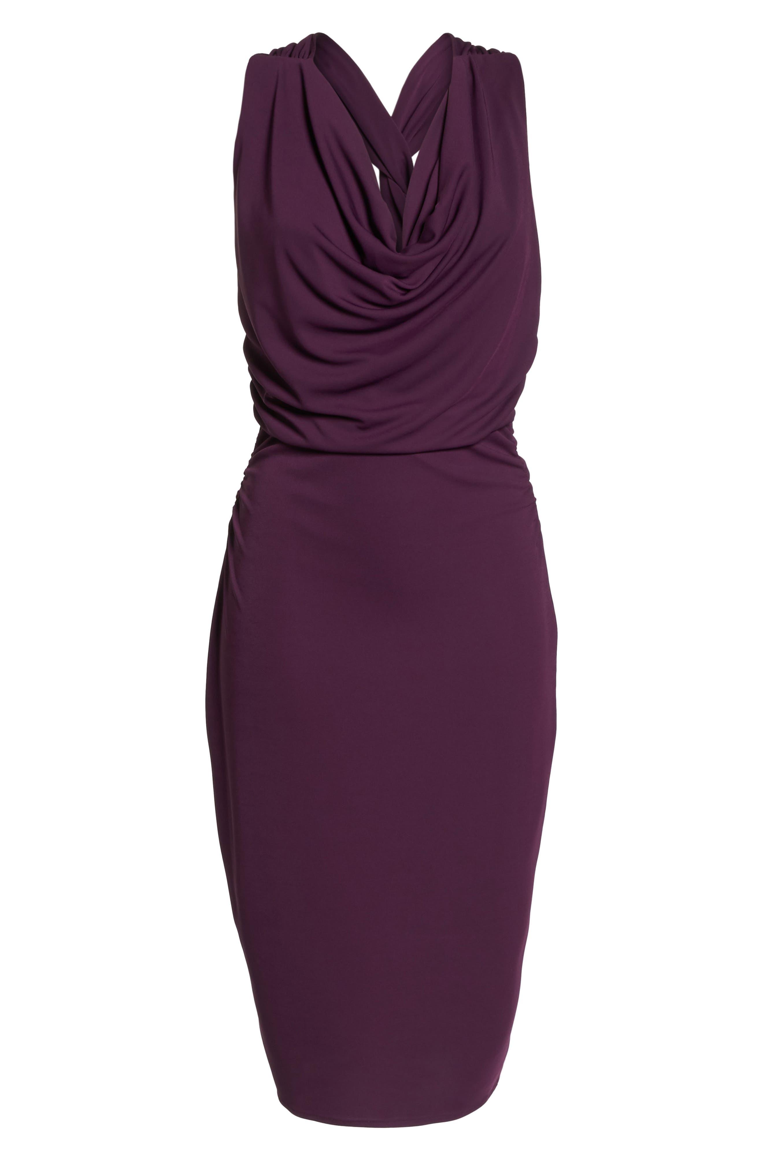 Elise Cowl Neck Sleeveless Dress,                             Alternate thumbnail 6, color,                             Wine