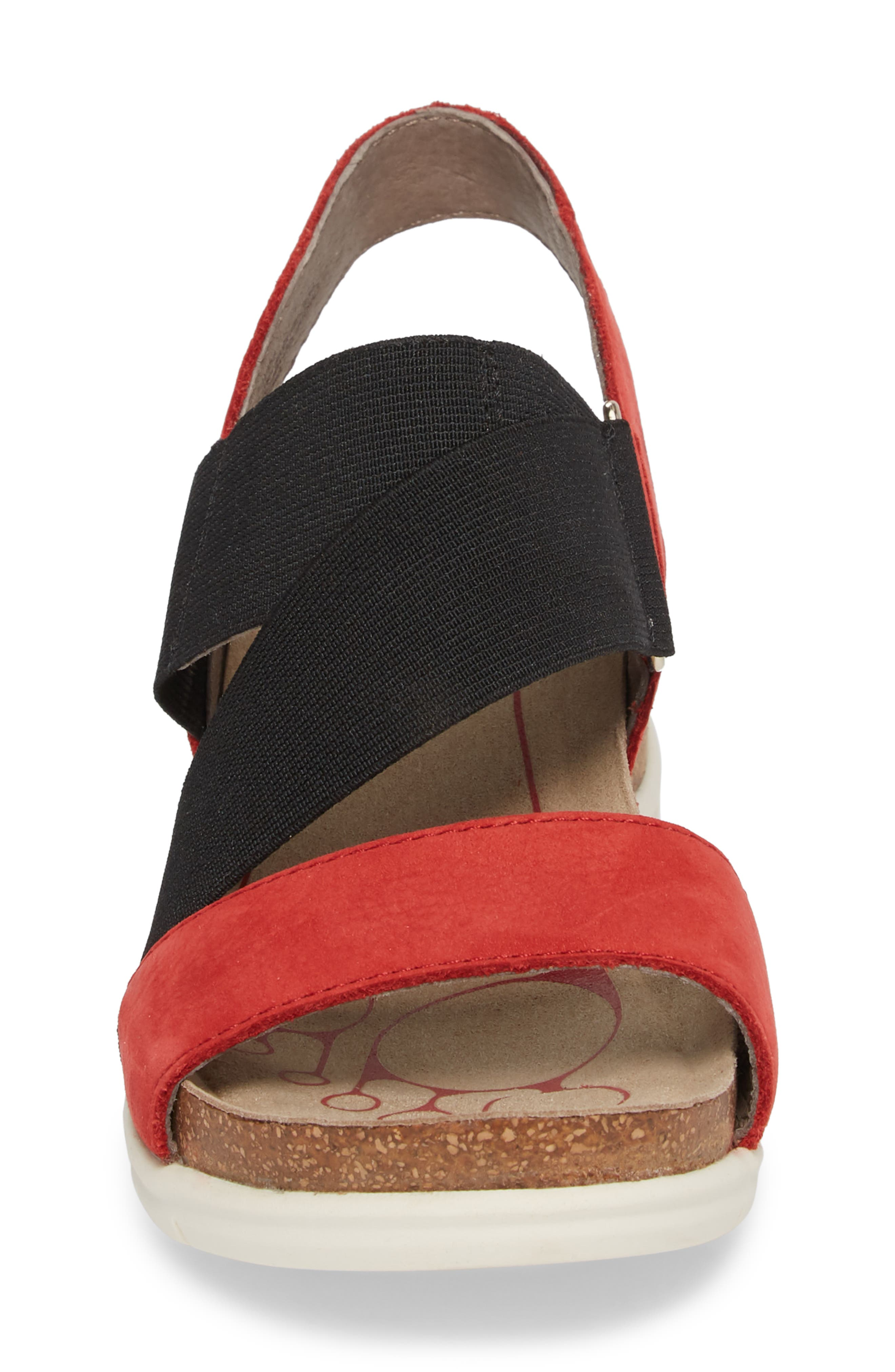 Paisley Wedge Sandal,                             Alternate thumbnail 4, color,                             Coral Leather
