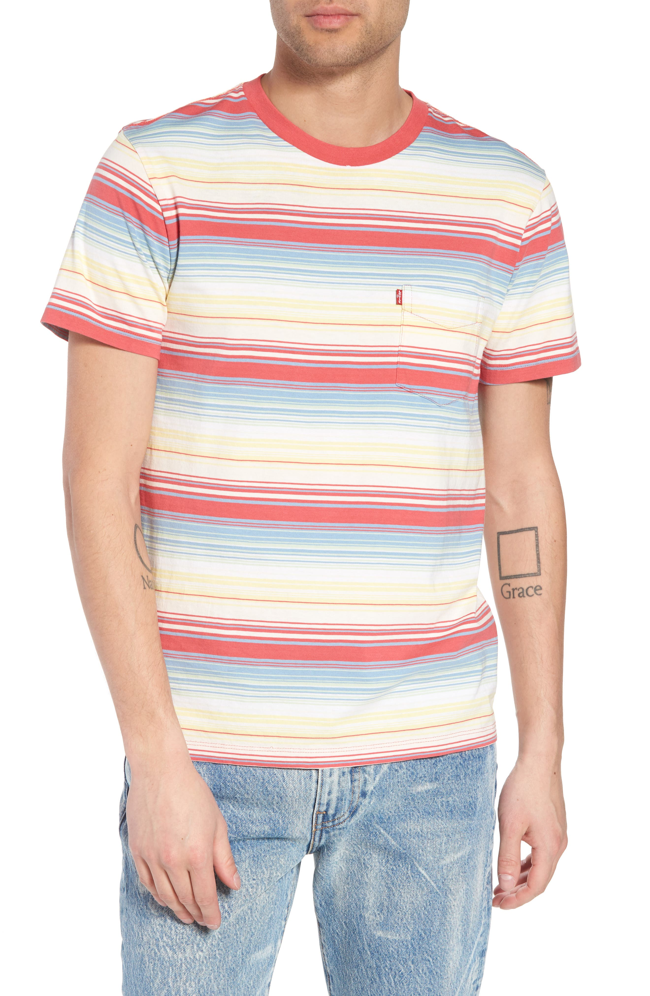 Set-In Sunset Pocket T-Shirt,                         Main,                         color, Fiesta Stripe