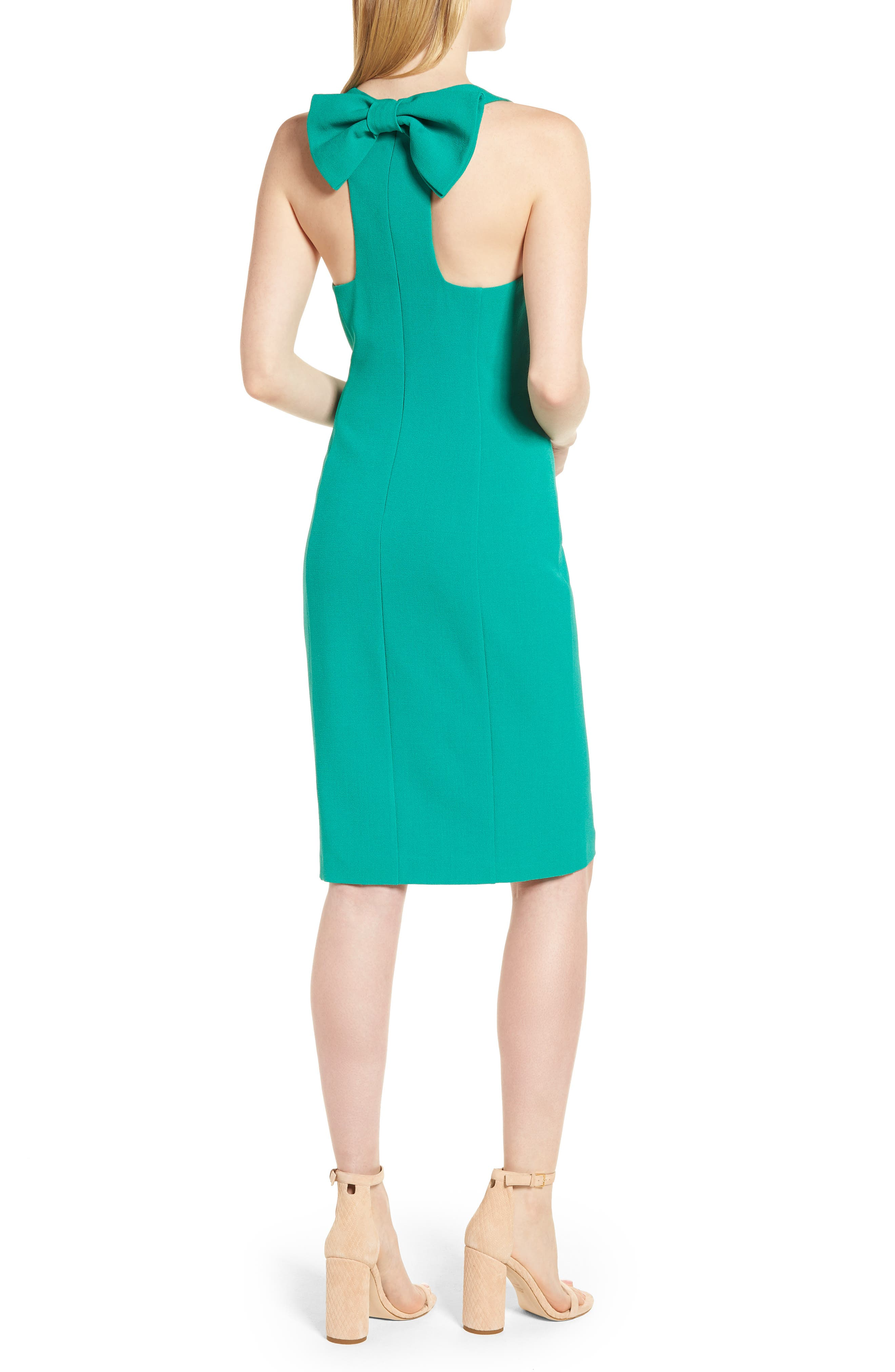 Bow Back Sheath Dress,                             Alternate thumbnail 2, color,                             Green Parakeet
