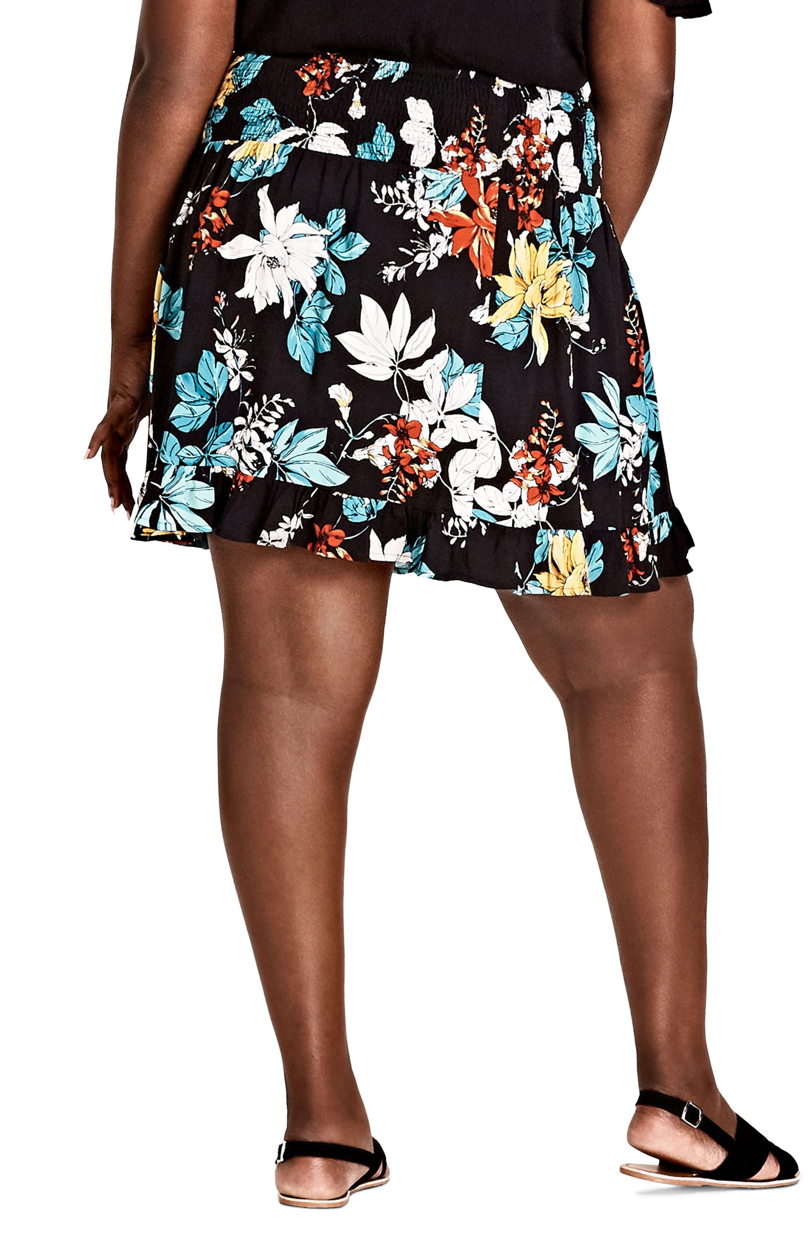 Alternate Image 2  - City Chic Tropical Print Skirt (Plus Size)