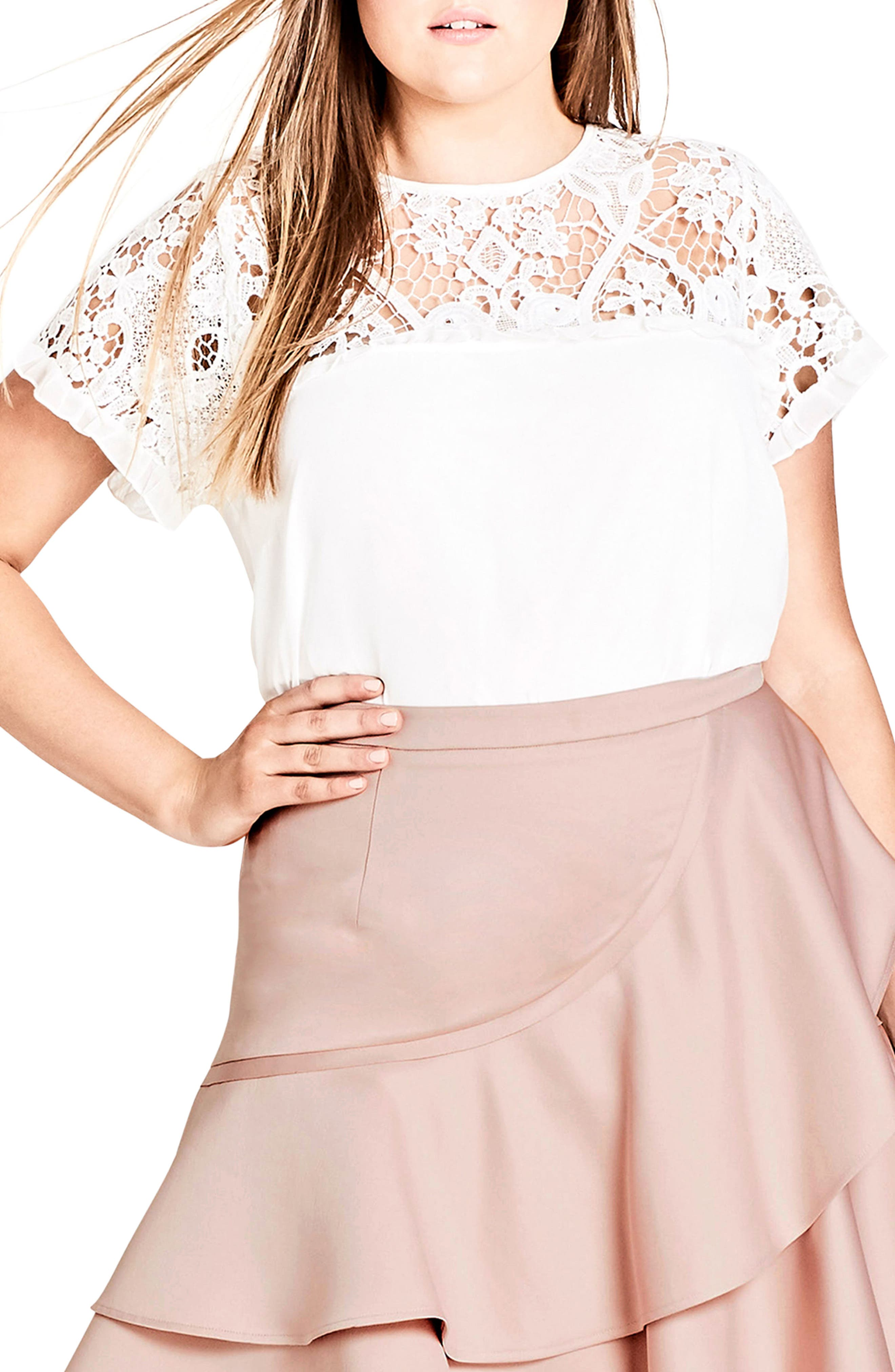 Lace Desire Top,                         Main,                         color, Ivory