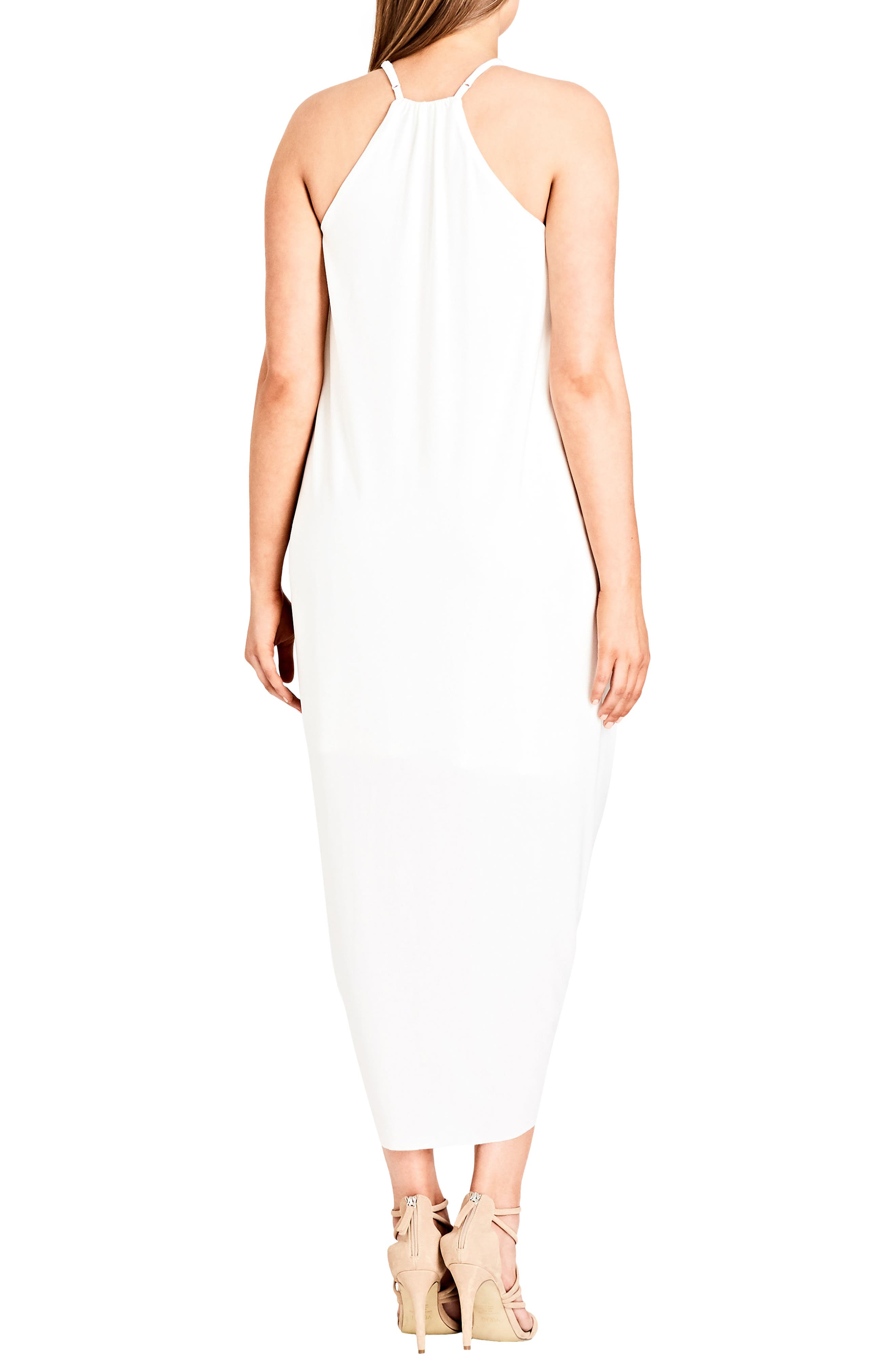 'Slinky Wrap' Maxi Dress,                             Alternate thumbnail 2, color,                             Ivory