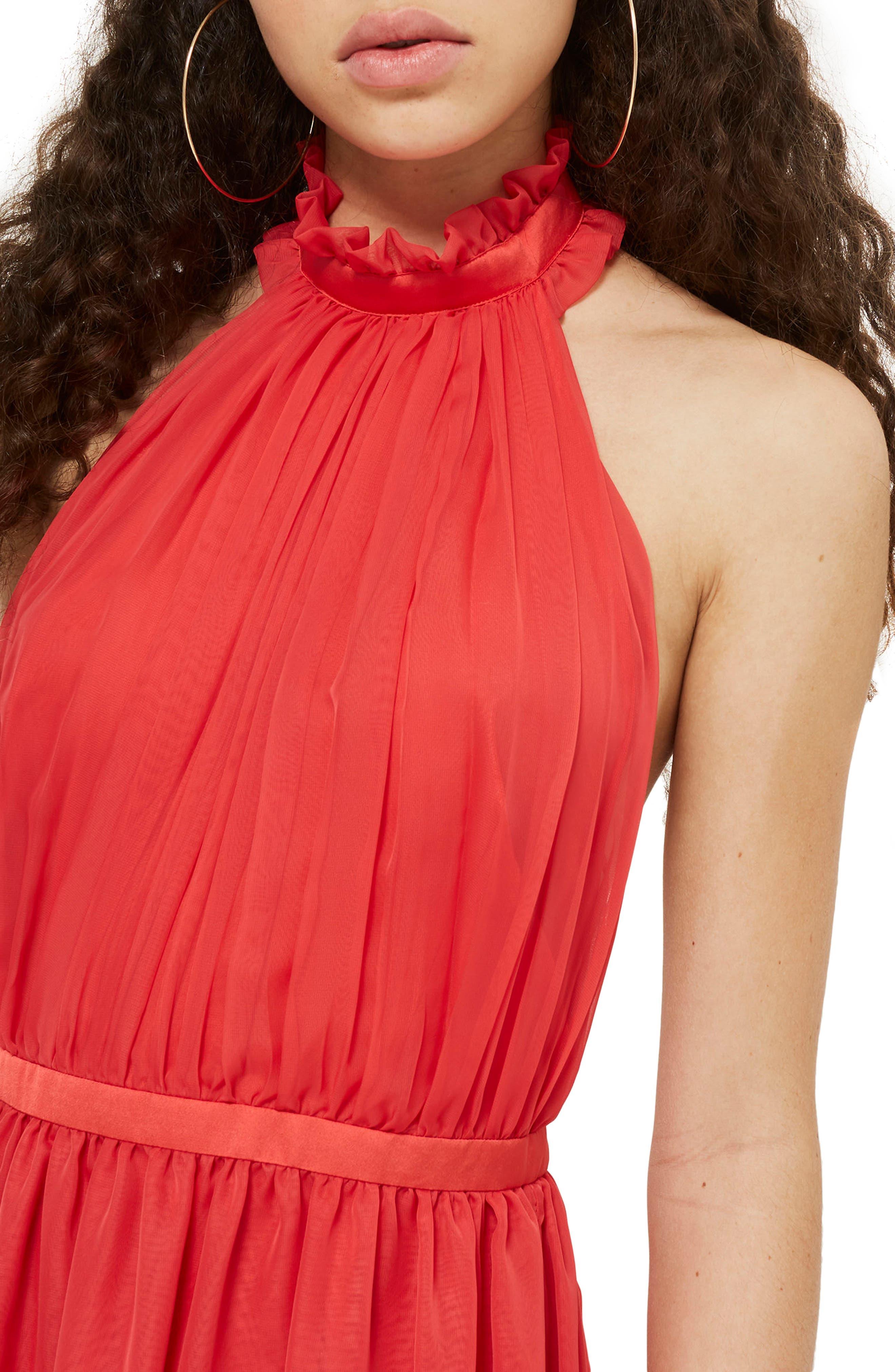 Taylor Halter Maxi Dress,                             Alternate thumbnail 3, color,                             Red