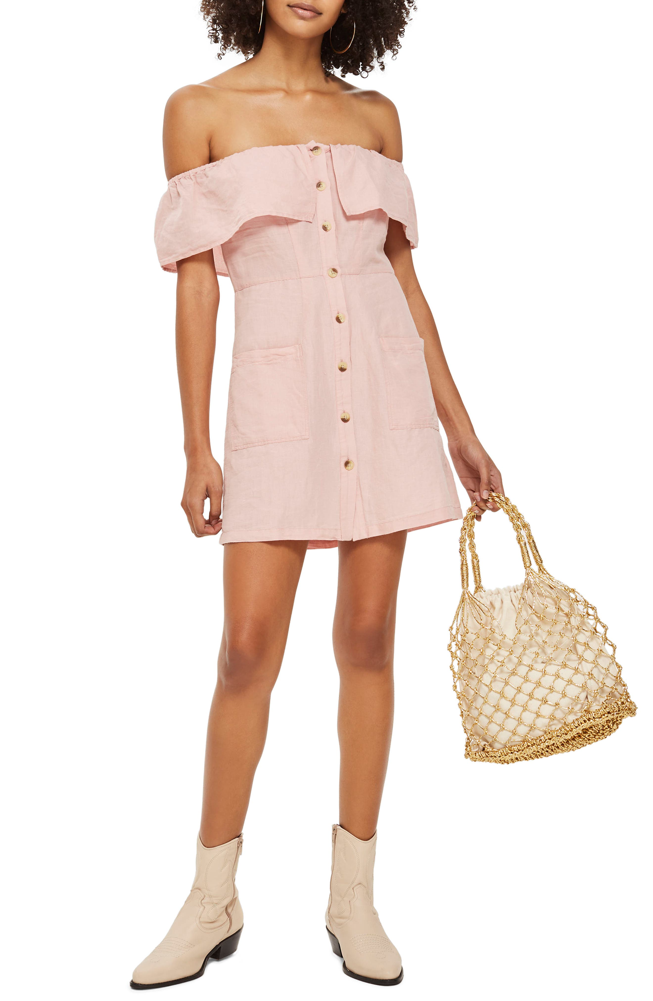 Off the Shoulder Button Front Minidress,                             Main thumbnail 1, color,                             Pink