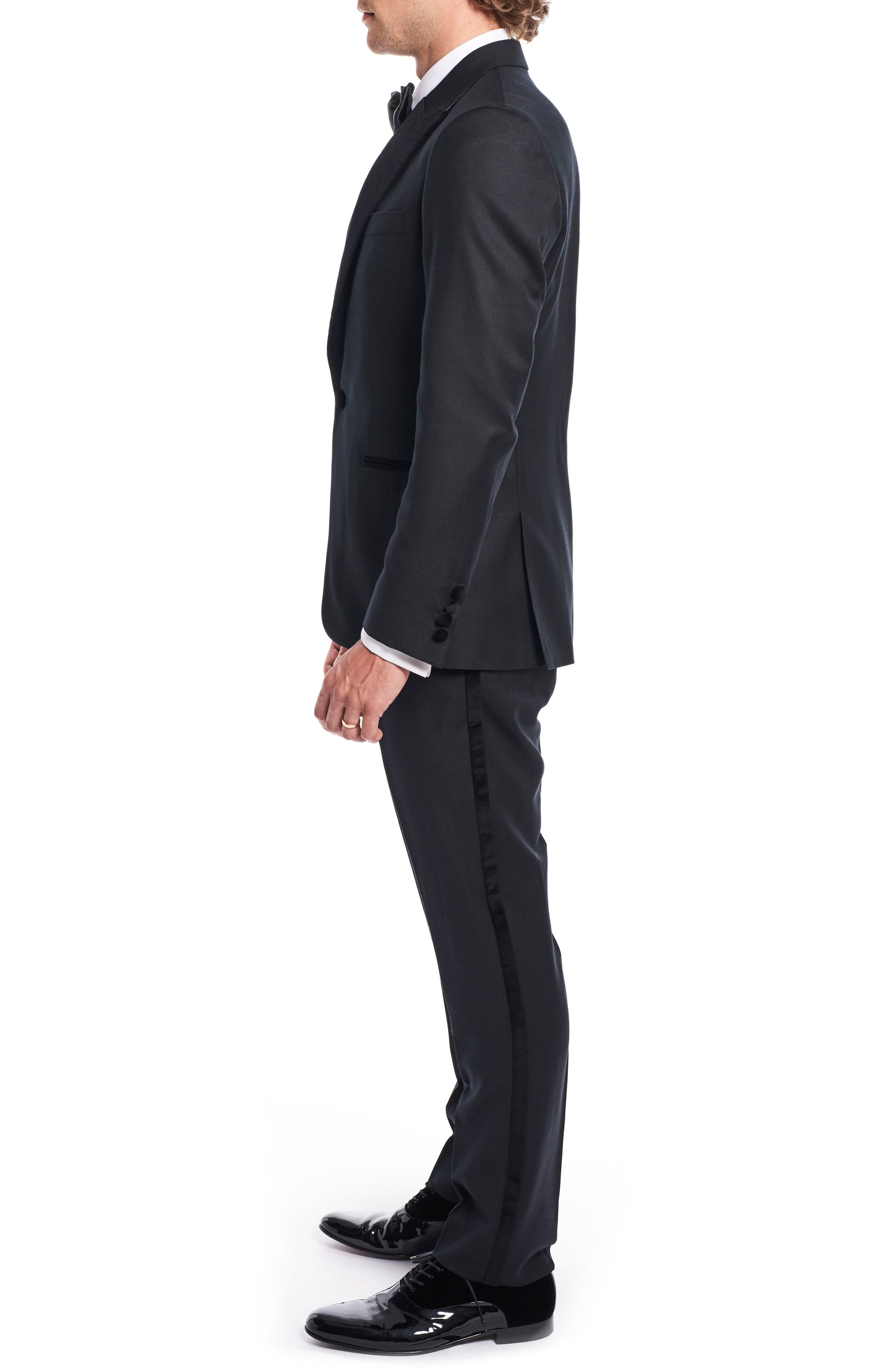 by Ilaria Urbinati Teddy Slim Fit Three-Piece Wool Tuxedo,                             Alternate thumbnail 3, color,                             Textured Black
