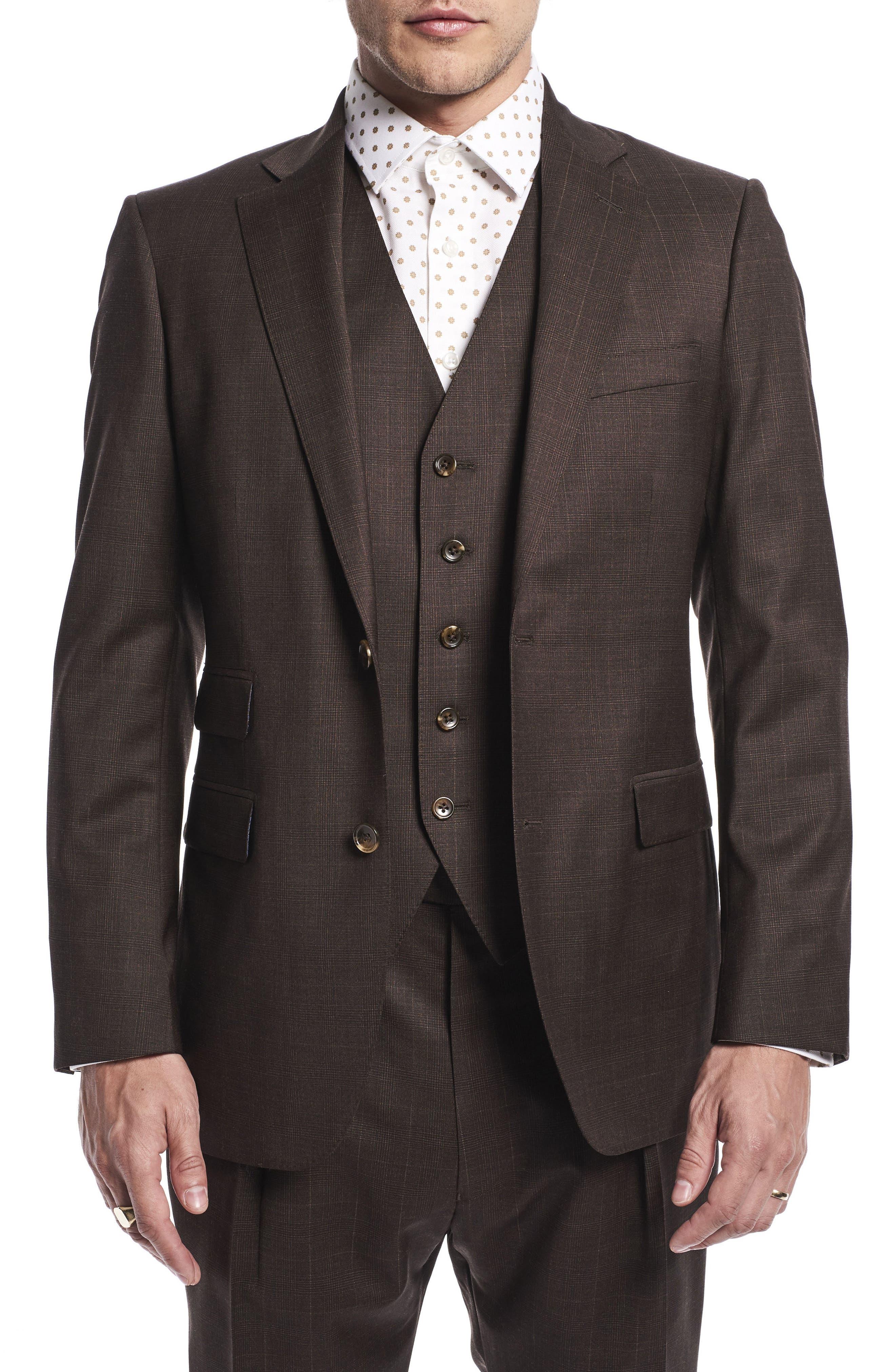 by Ilaria Urbinati Hank Slim Fit Three-Piece Plaid Wool Suit,                             Alternate thumbnail 5, color,                             Brown Plaid