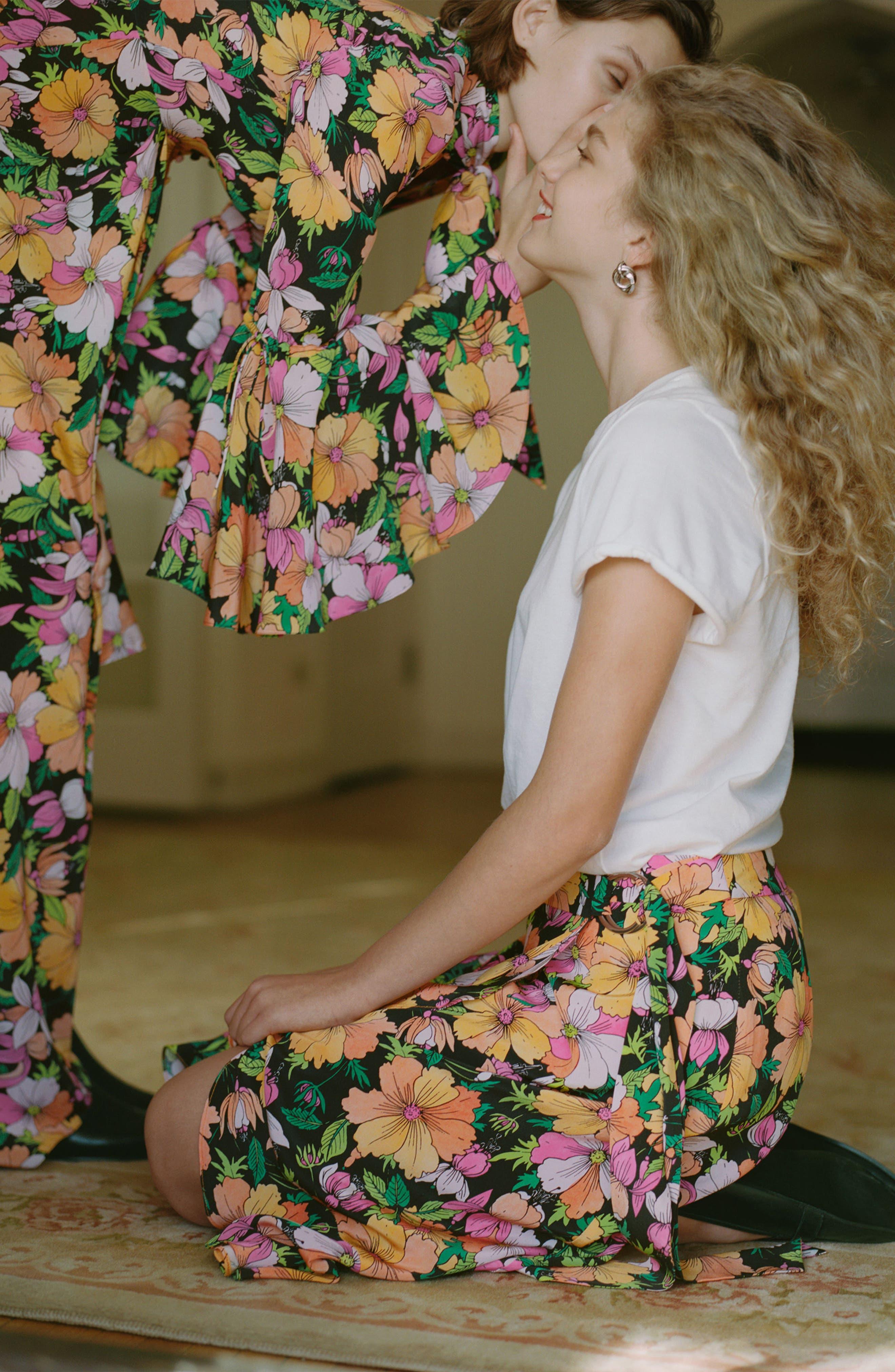 Heavy Petal Print Midi Skirt,                             Alternate thumbnail 4, color,