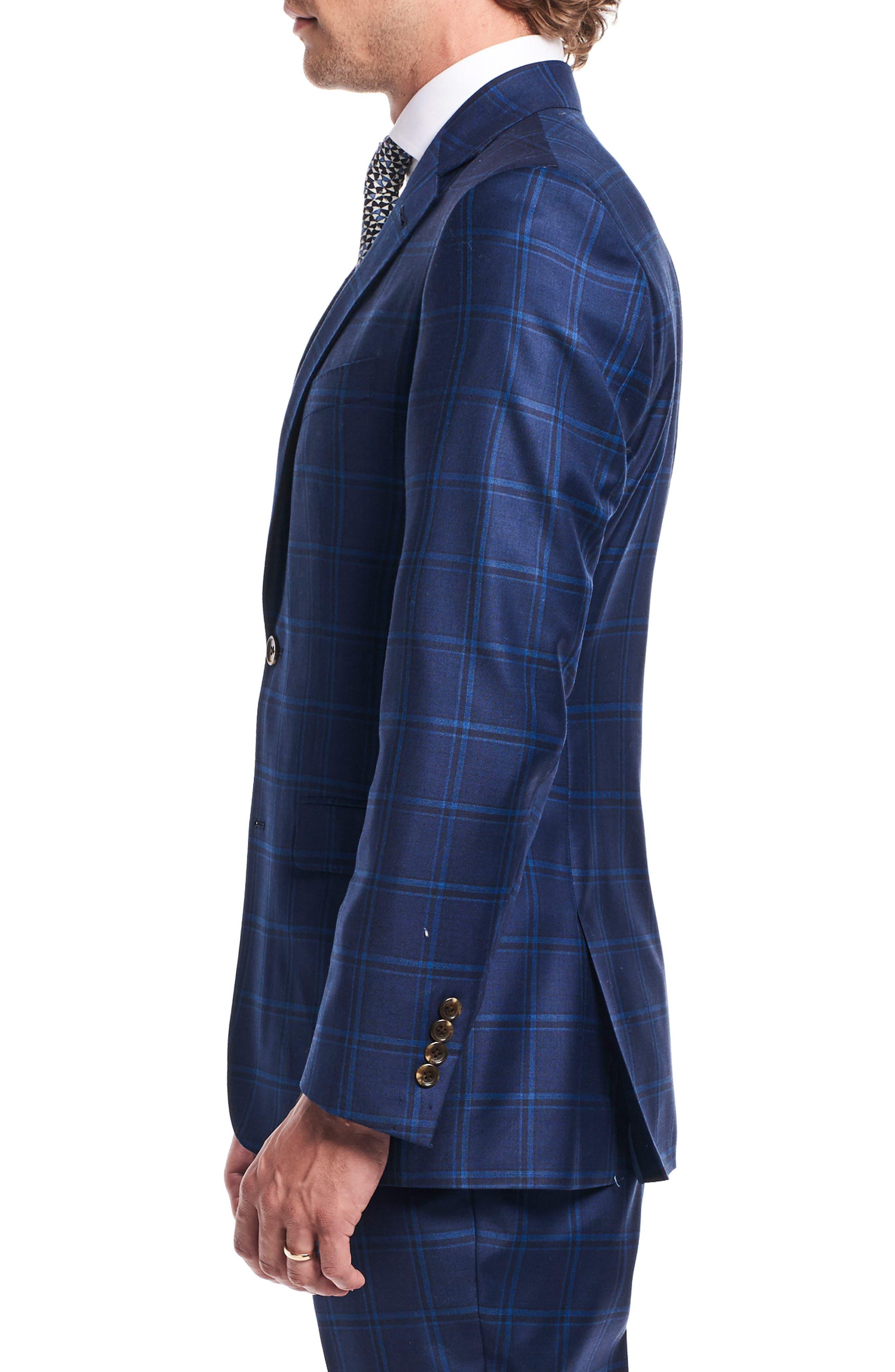by Ilaria Urbinati Kilgore Slim Fit Plaid Wool Suit,                             Alternate thumbnail 5, color,                             Marine Windowpane