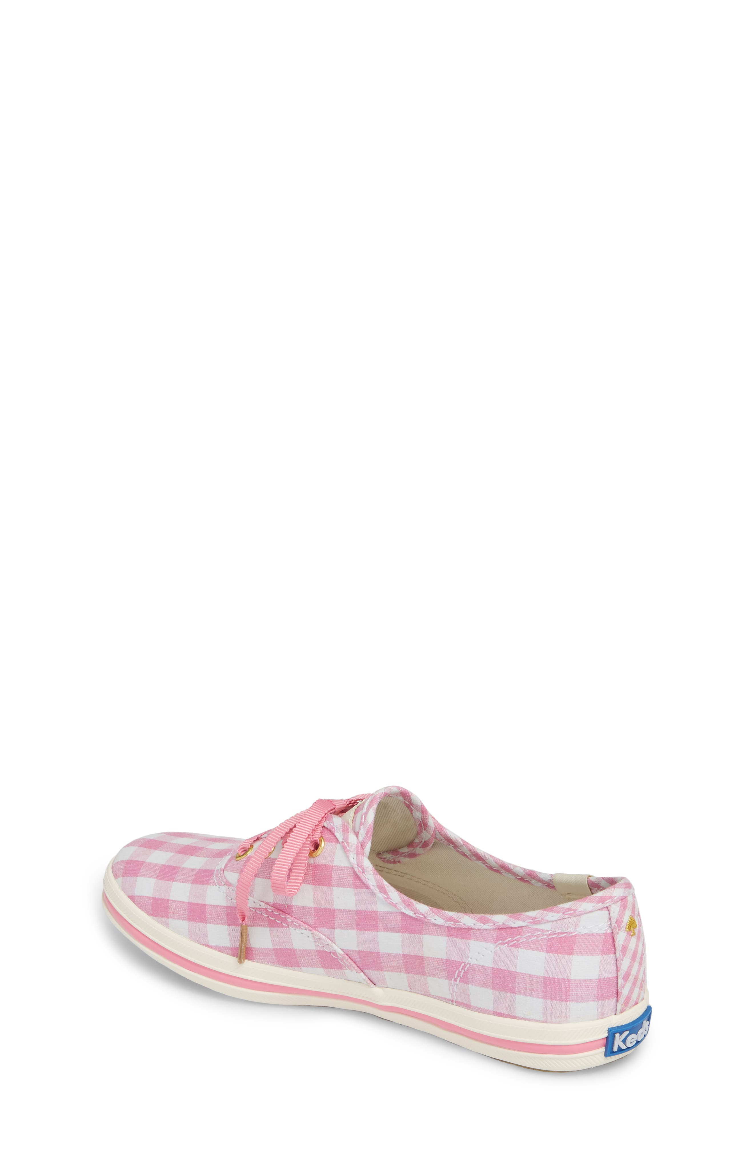 x kate spade new york champion gingham lace-up shoe,                             Alternate thumbnail 2, color,                             Pink Gingham