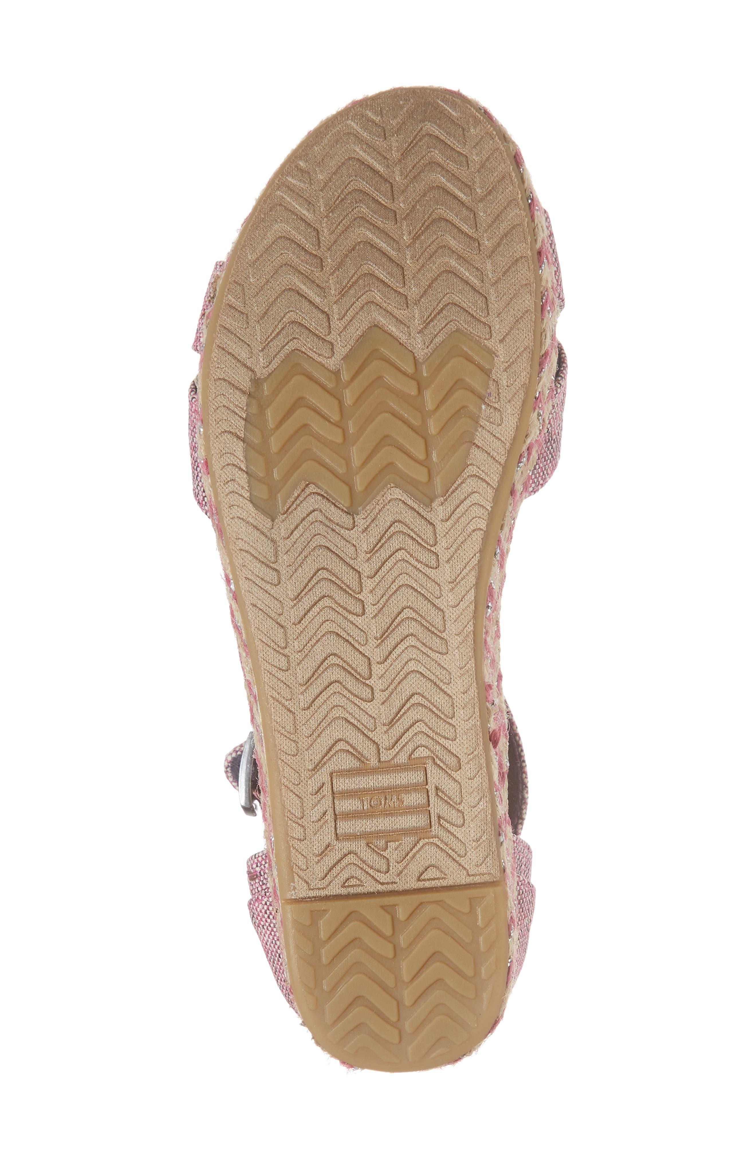 Harper Wedge Sandal,                             Alternate thumbnail 6, color,                             Plum Oxford Melange