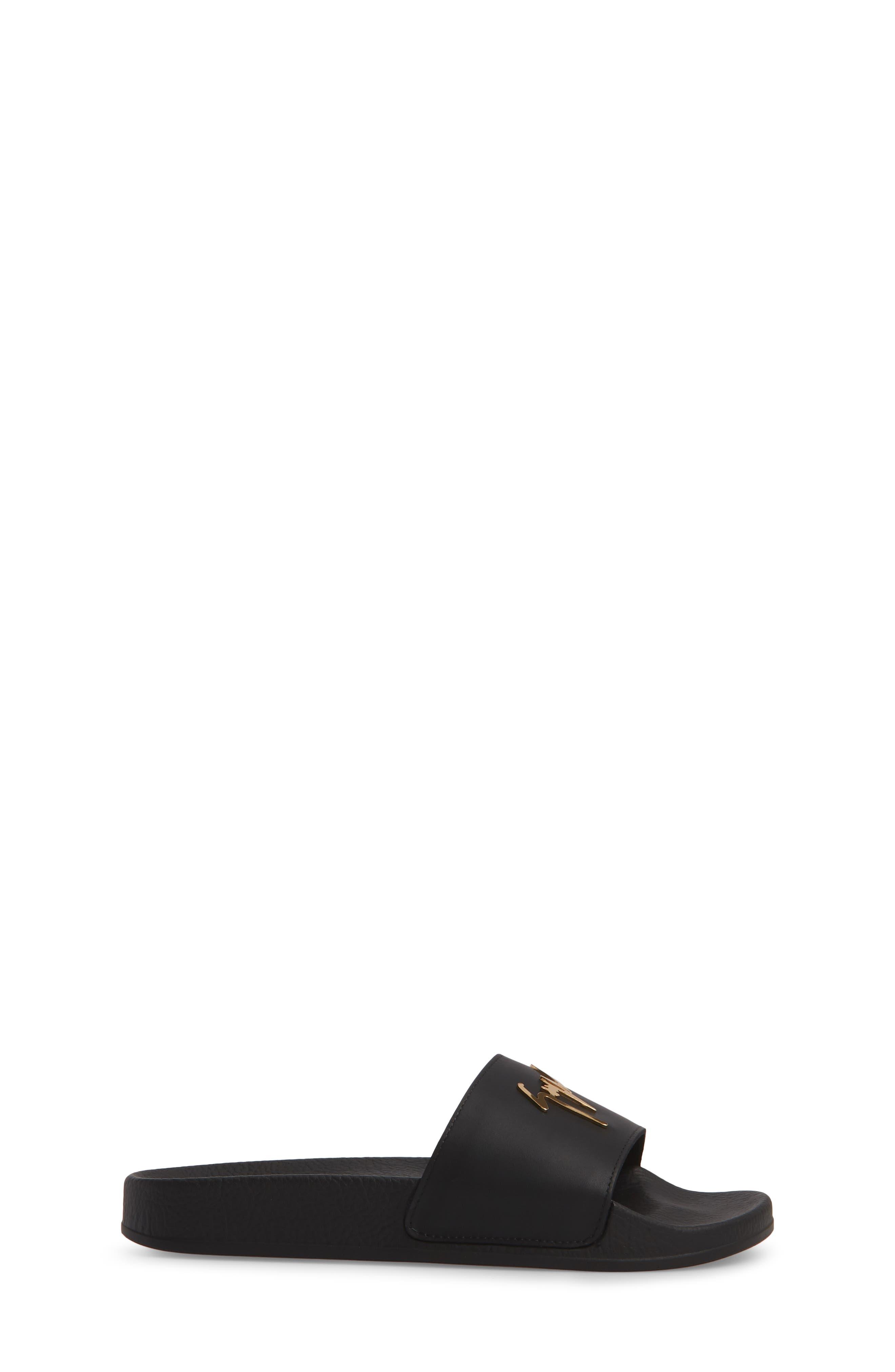 Birel Slide Sandal,                             Alternate thumbnail 3, color,                             Black Leather