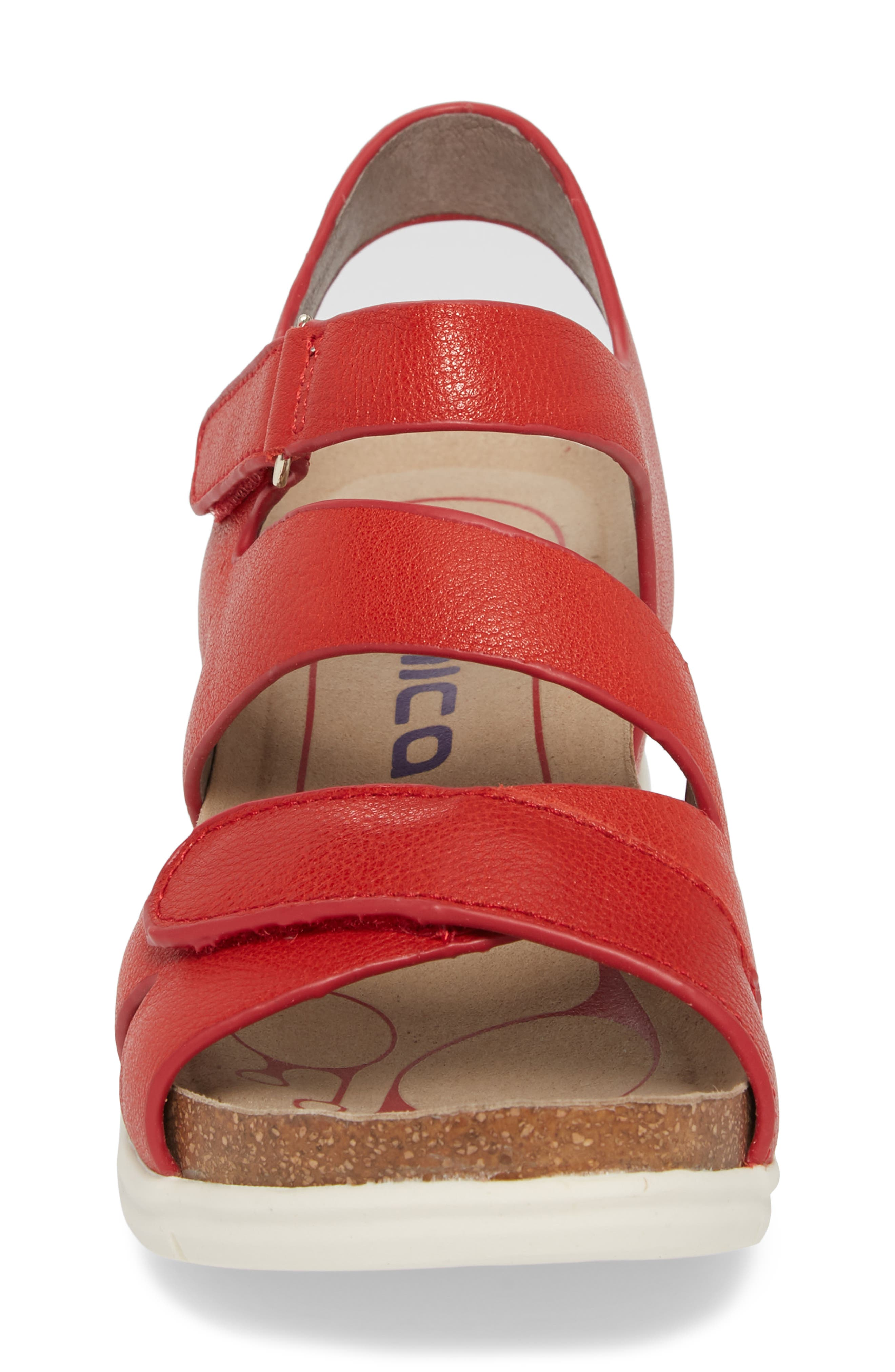 Passion Wedge Sandal,                             Alternate thumbnail 4, color,                             Fire Red Leather