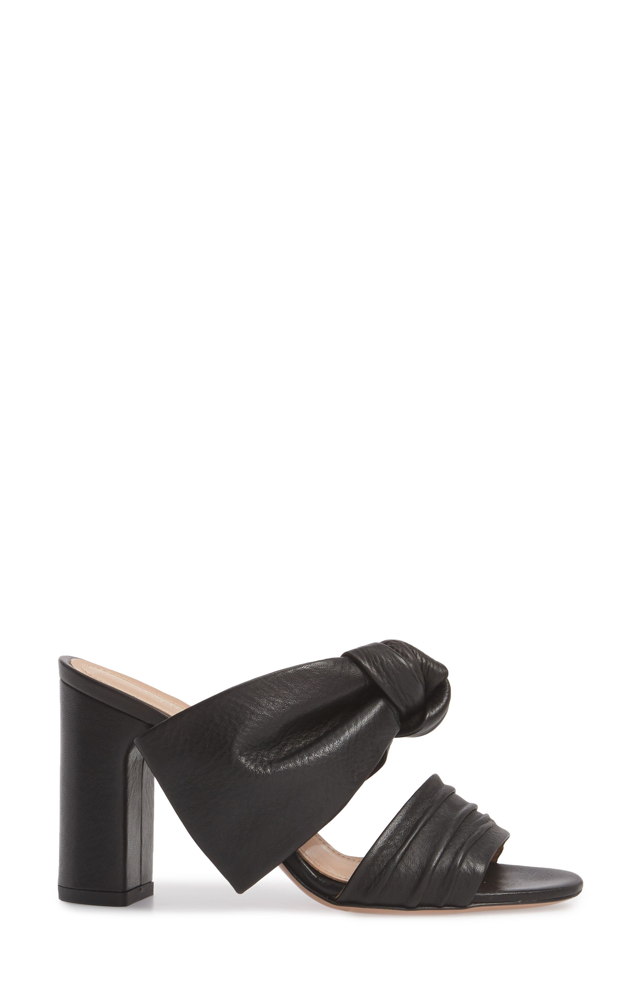 Rosa Knotted Bow Mule,                             Alternate thumbnail 3, color,                             Black Leather