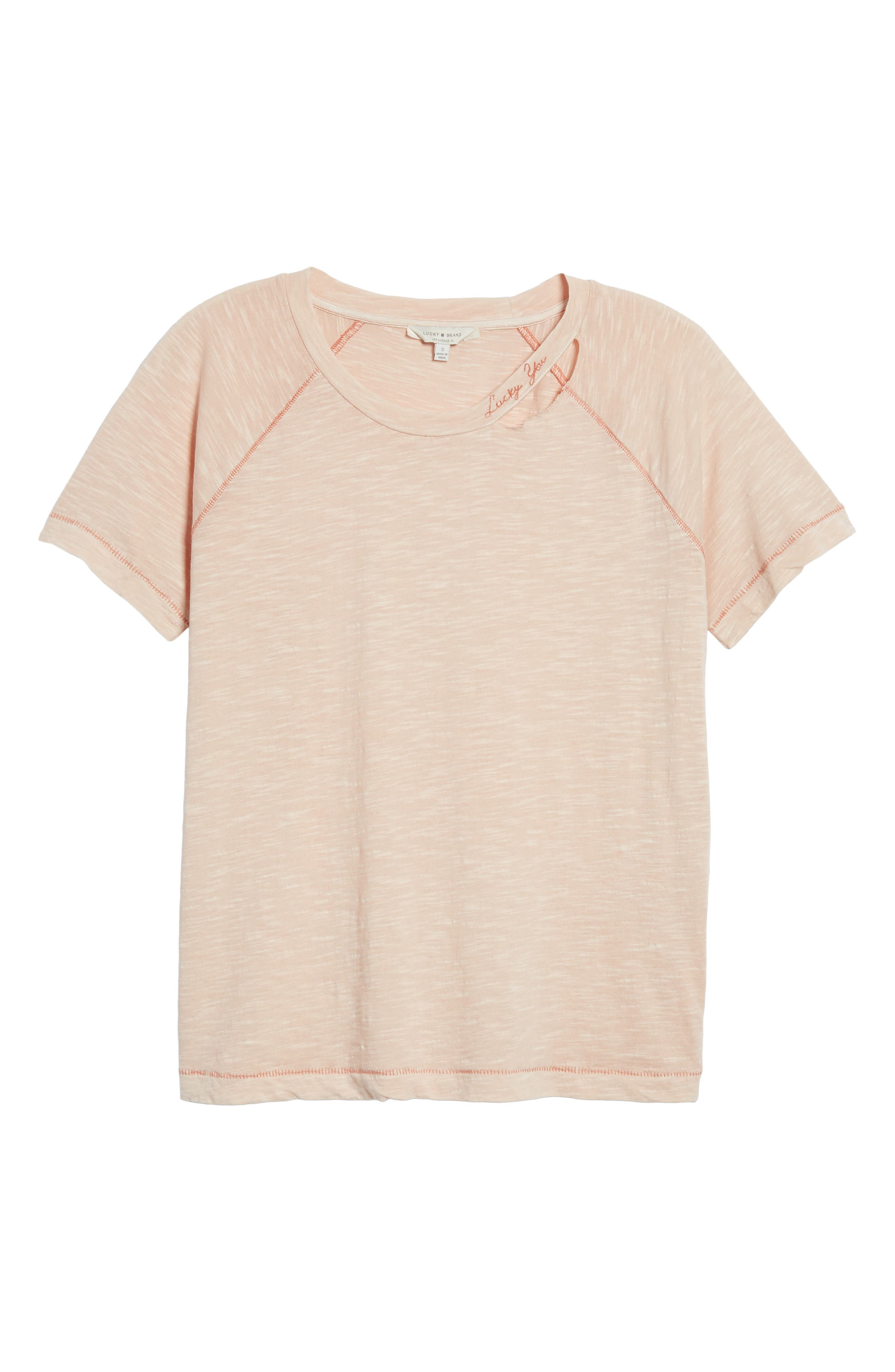 'Lucky You' Deconstructed Tee,                             Alternate thumbnail 7, color,                             Peach Whip